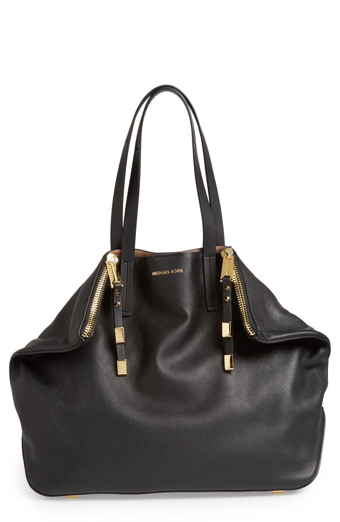 'Large Miranda' Leather Shopper,                             Main thumbnail 1, color,                             001