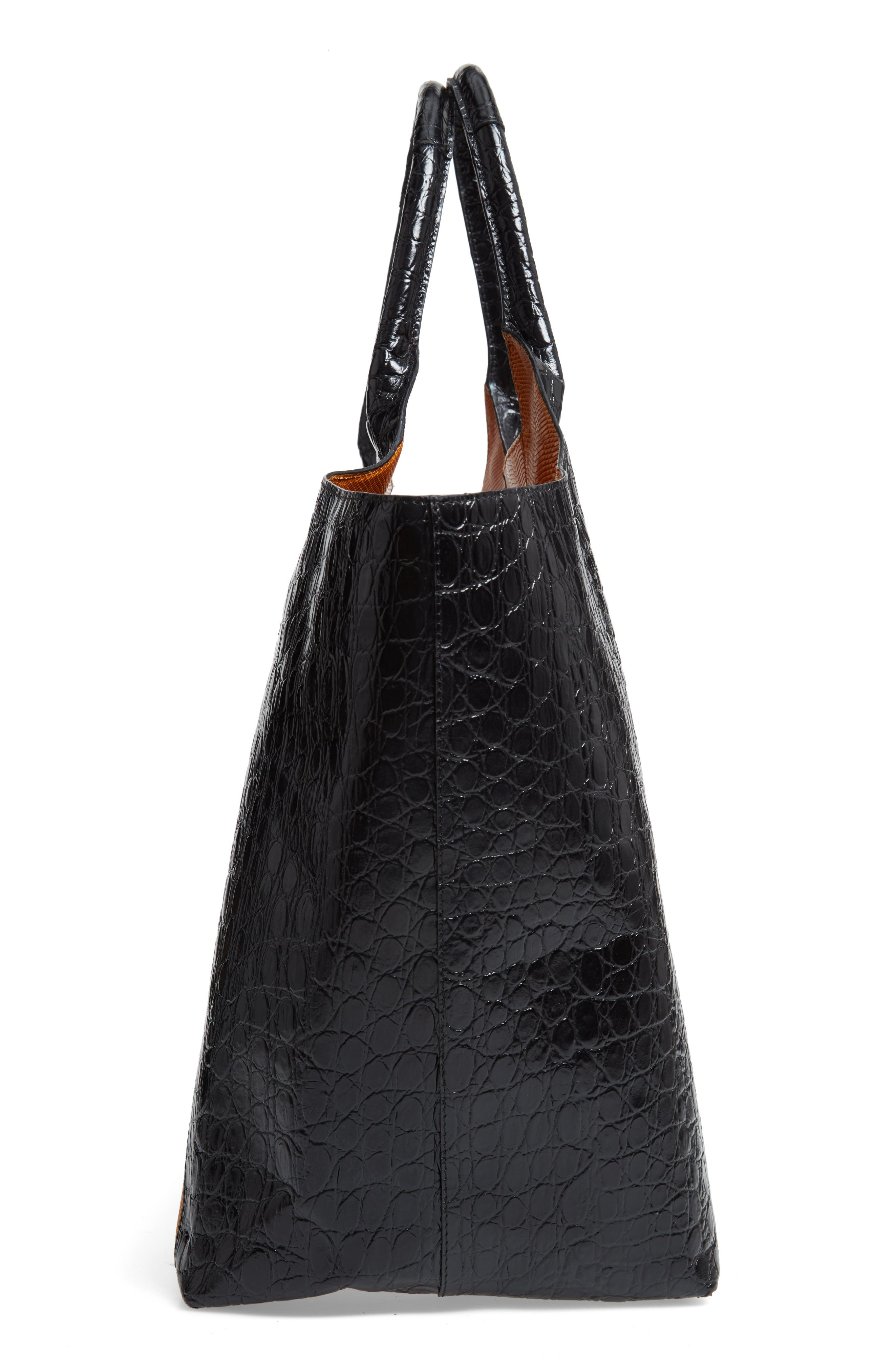 Embossed Leather Tote,                             Alternate thumbnail 5, color,                             BLACK