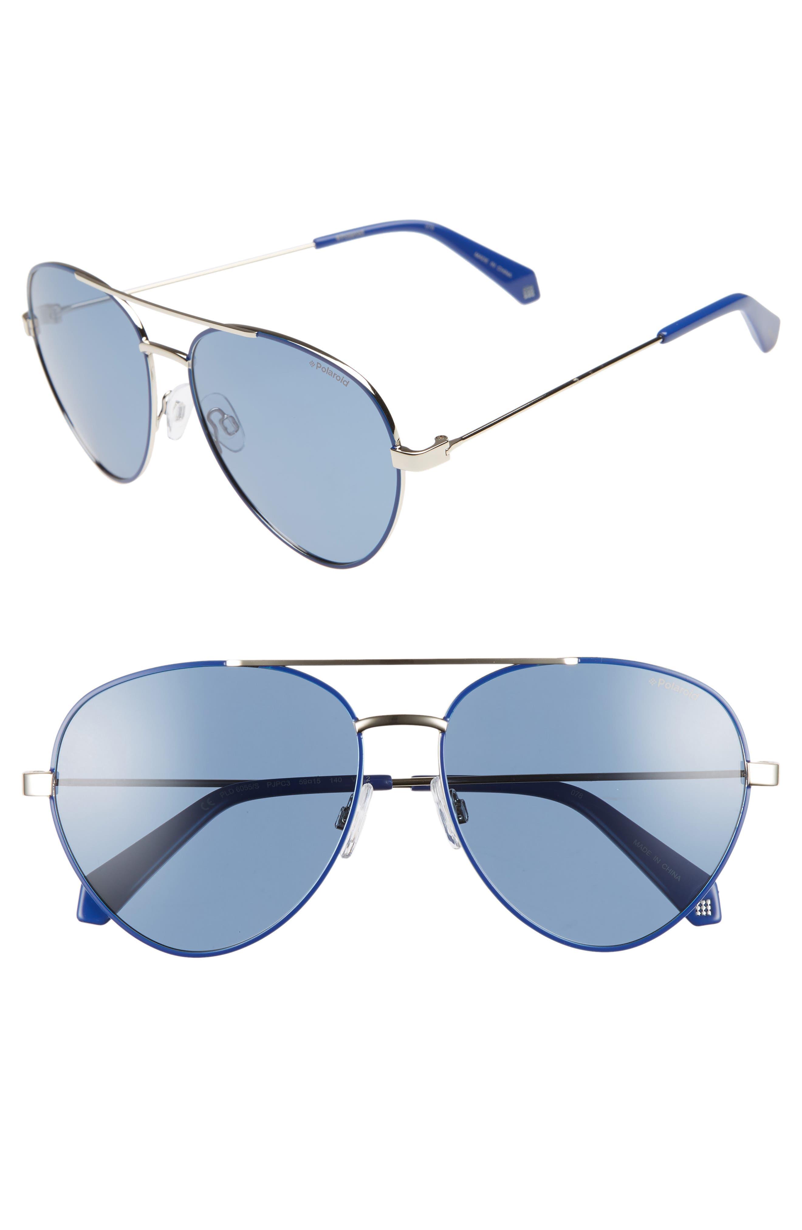 Polaroid 5m Polarized Aviator Sunglasses - Blue