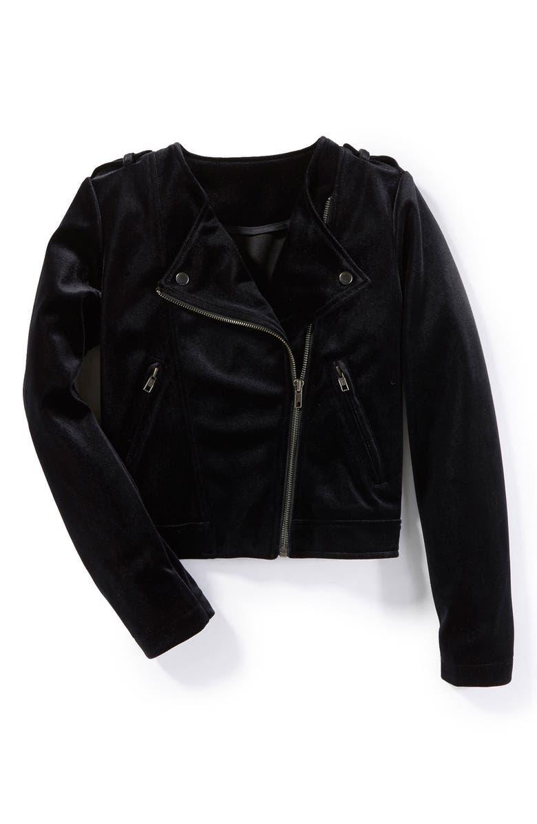 670a3e6b07c28 PEEK AREN T YOU CURIOUS Peek Crushed Velvet Moto Jacket