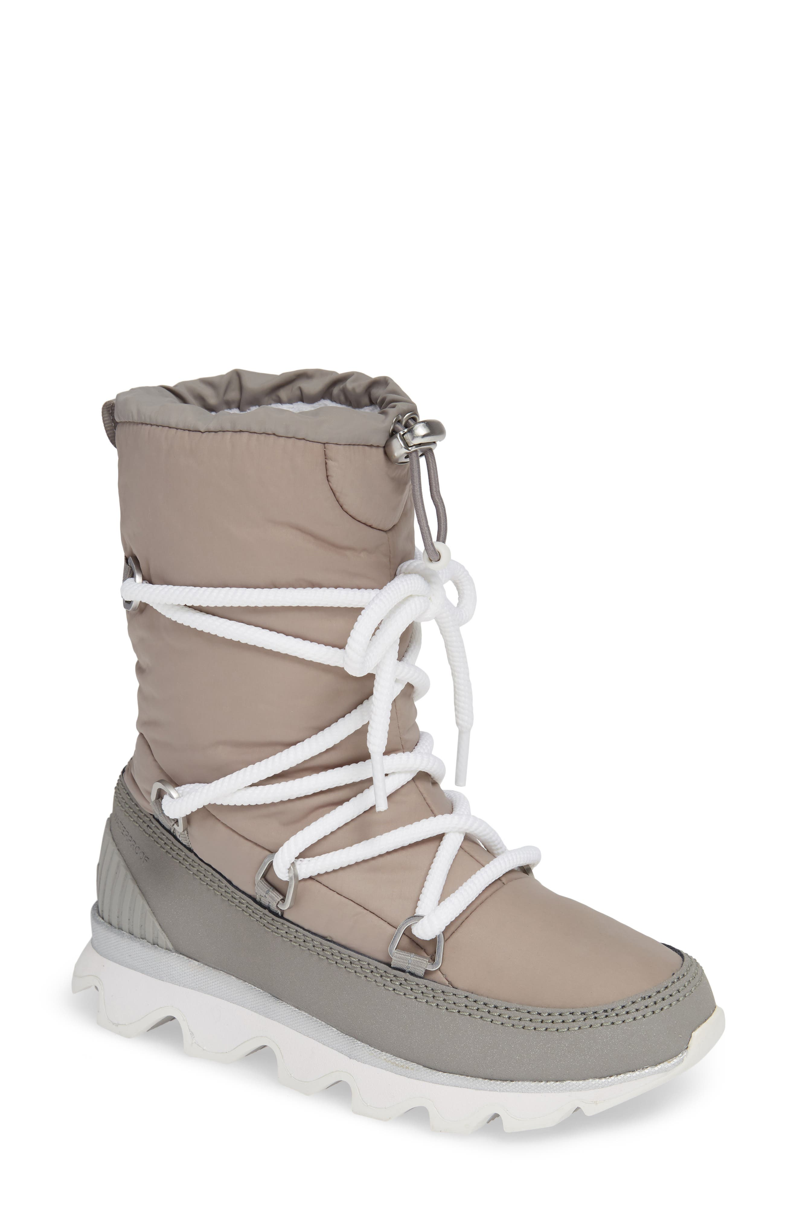 Women'S Kinetic Waterproof Cold Weather Platform Boots in Glitter-Chrome Grey White