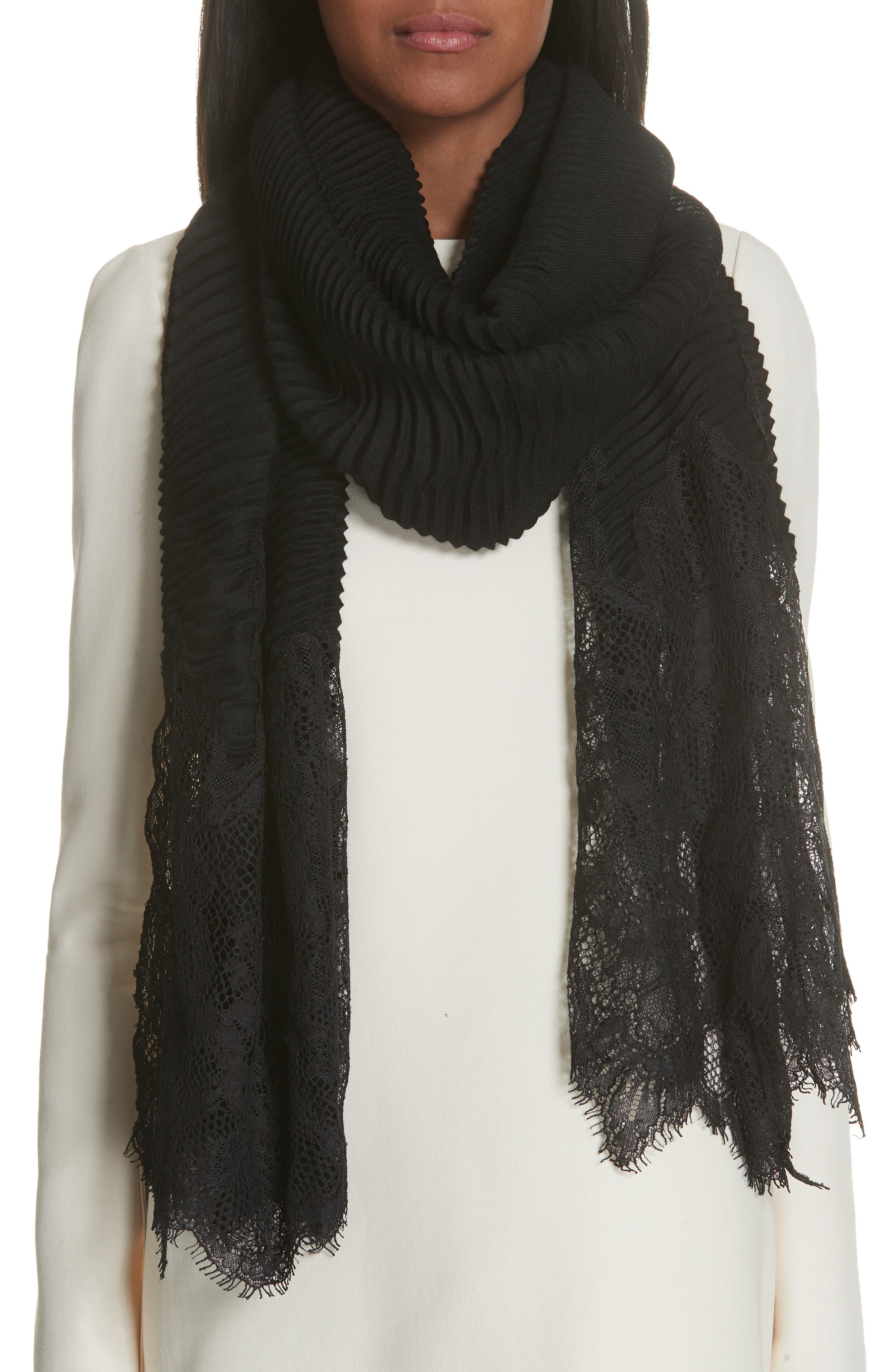 VALENTINO,                             Plissé Lace Trim Scarf,                             Alternate thumbnail 2, color,                             BLACK
