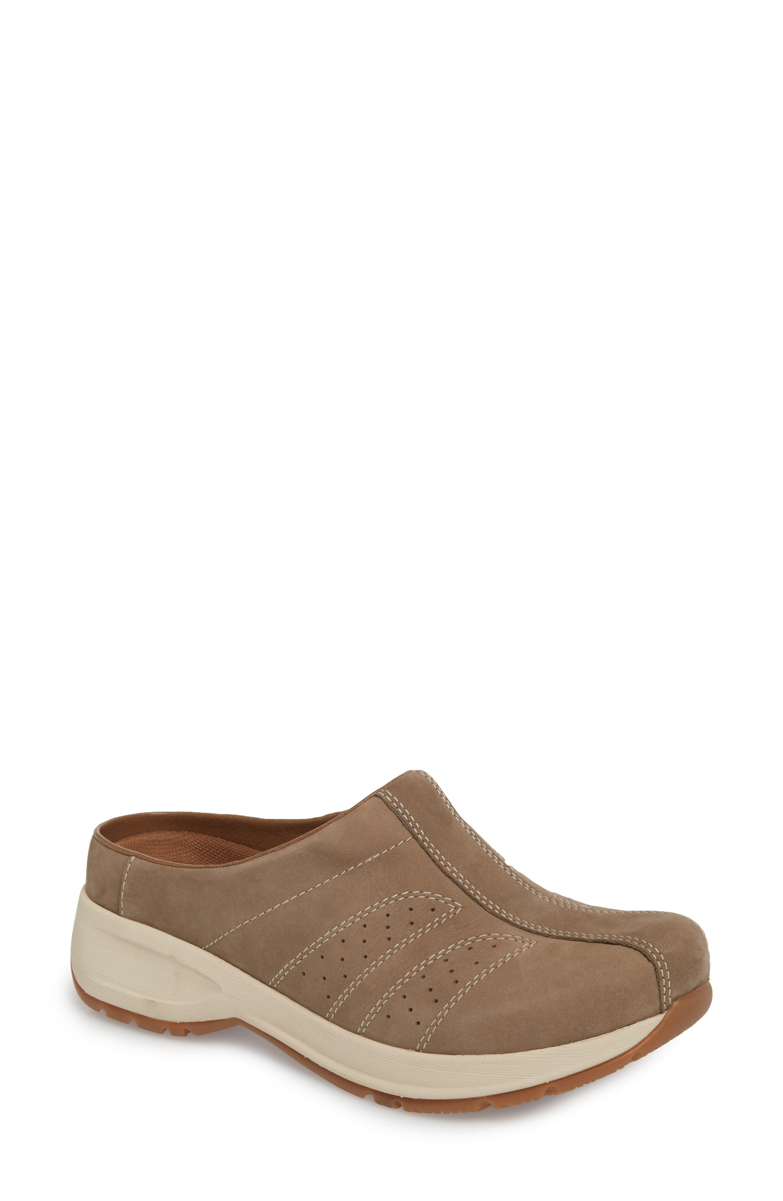 Dankso Shelly Mule,                             Main thumbnail 1, color,                             TAUPE MILLED NUBUCK LEATHER
