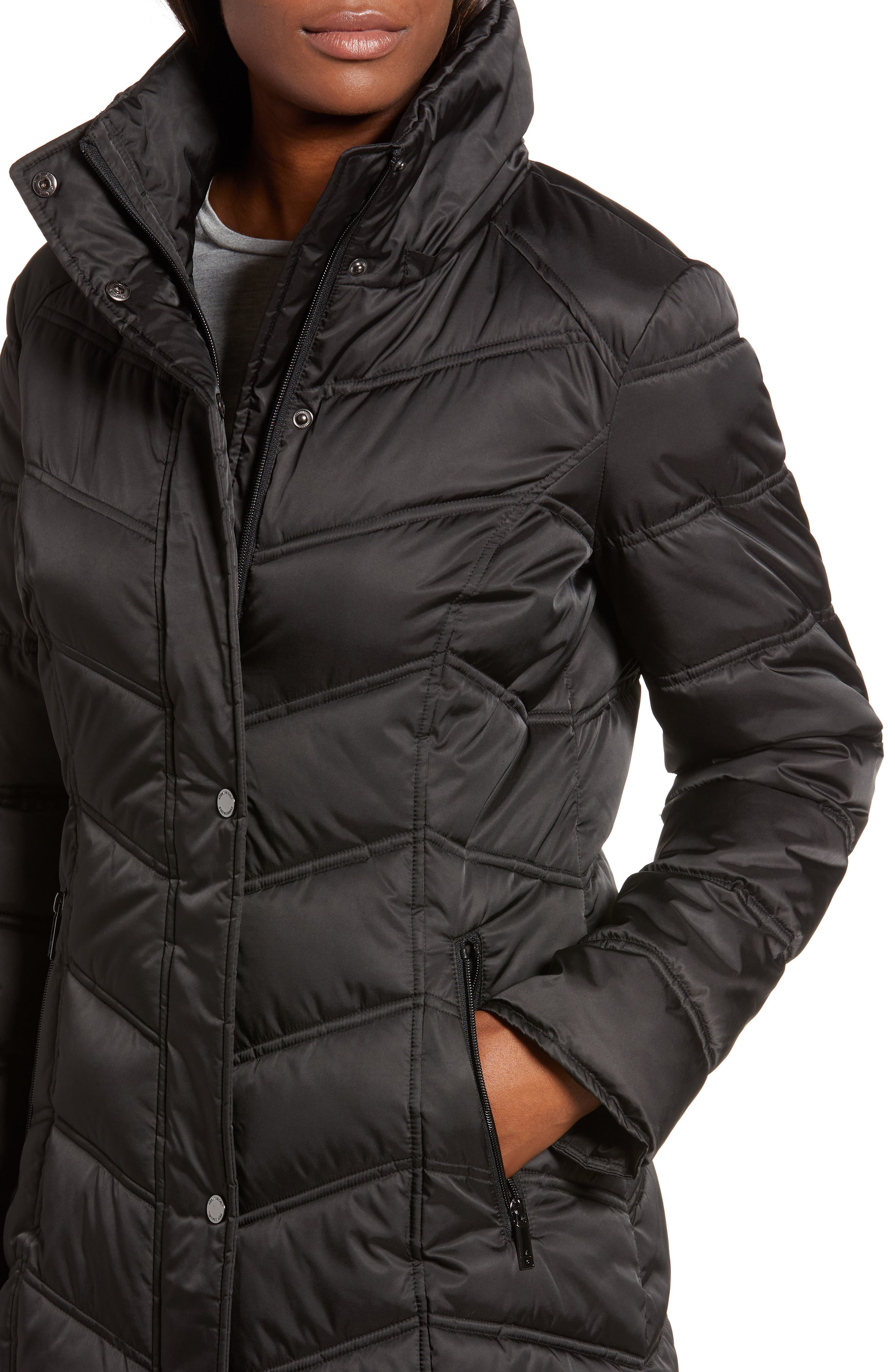 Faux Fur Trim Puffer Jacket,                             Alternate thumbnail 4, color,                             BLACK
