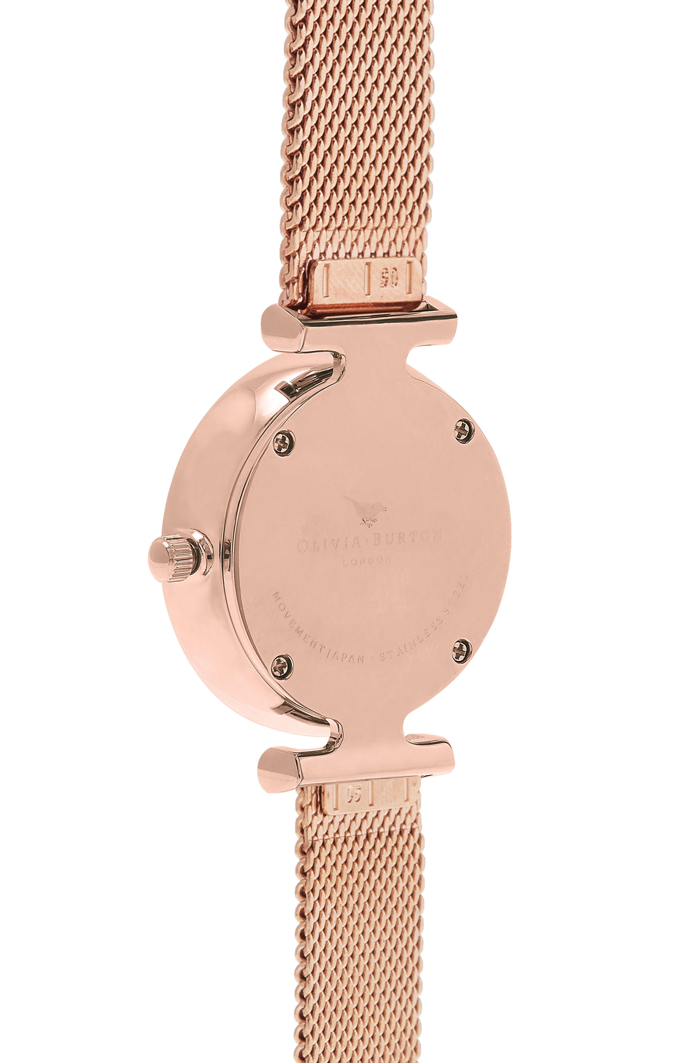 Queen Bee Mesh Strap Watch, 30mm,                             Alternate thumbnail 3, color,                             ROSE GOLD/ BLACK MOP/ SILVER
