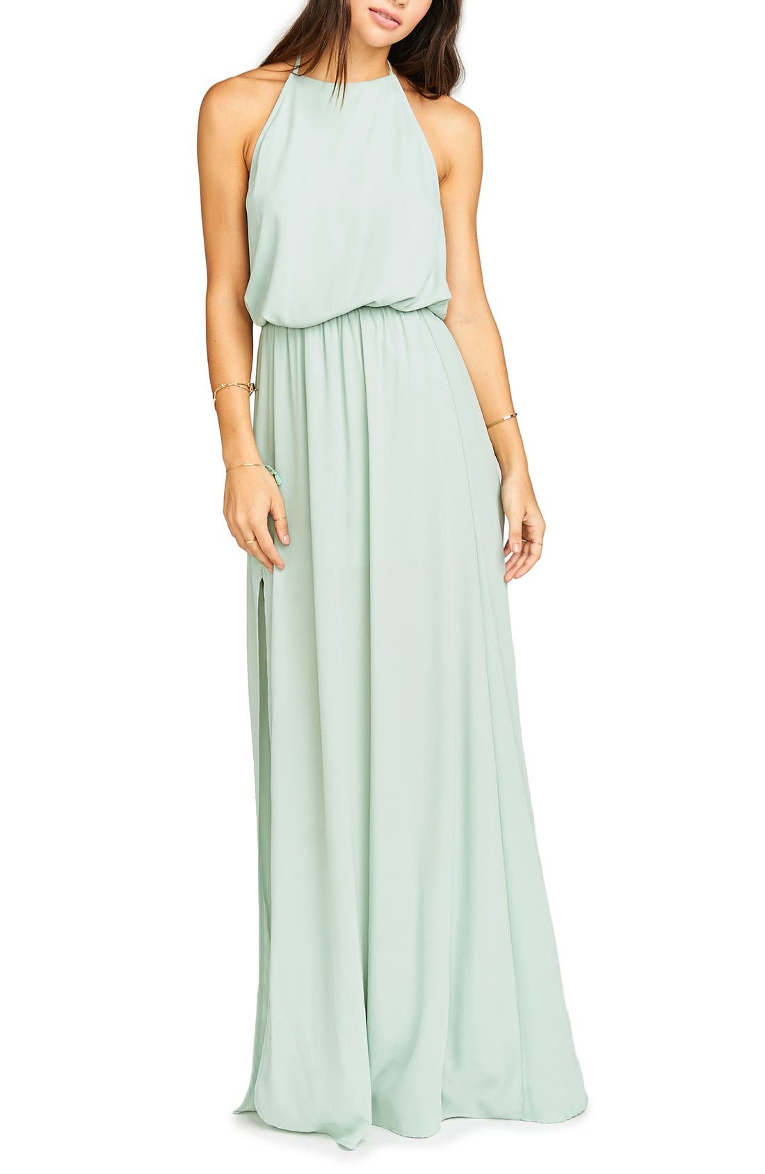 Heather Chiffon Halter Gown,                             Alternate thumbnail 51, color,