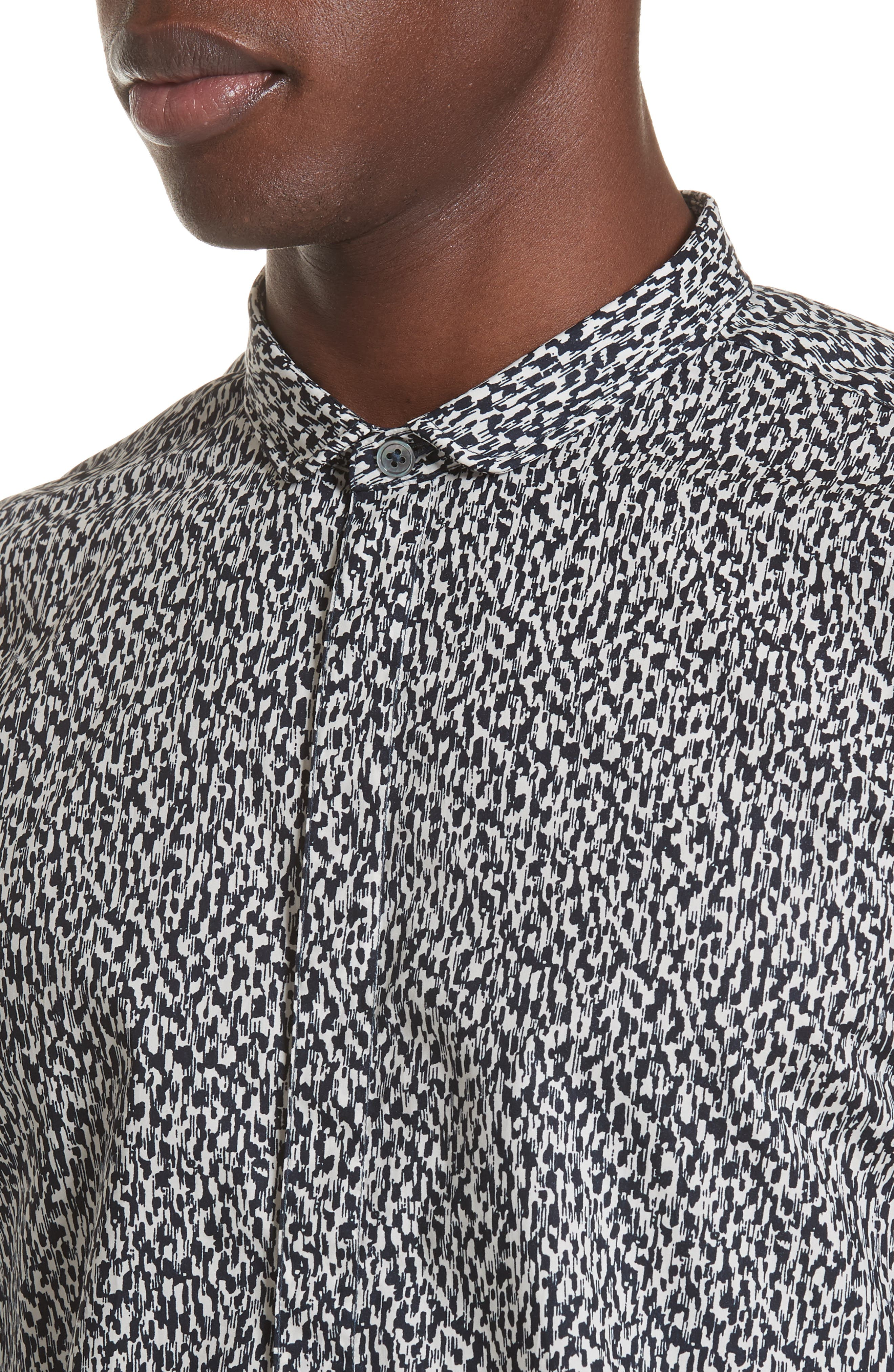 Slim Fit Print Sport Shirt,                             Alternate thumbnail 4, color,                             BLACK/WHITE