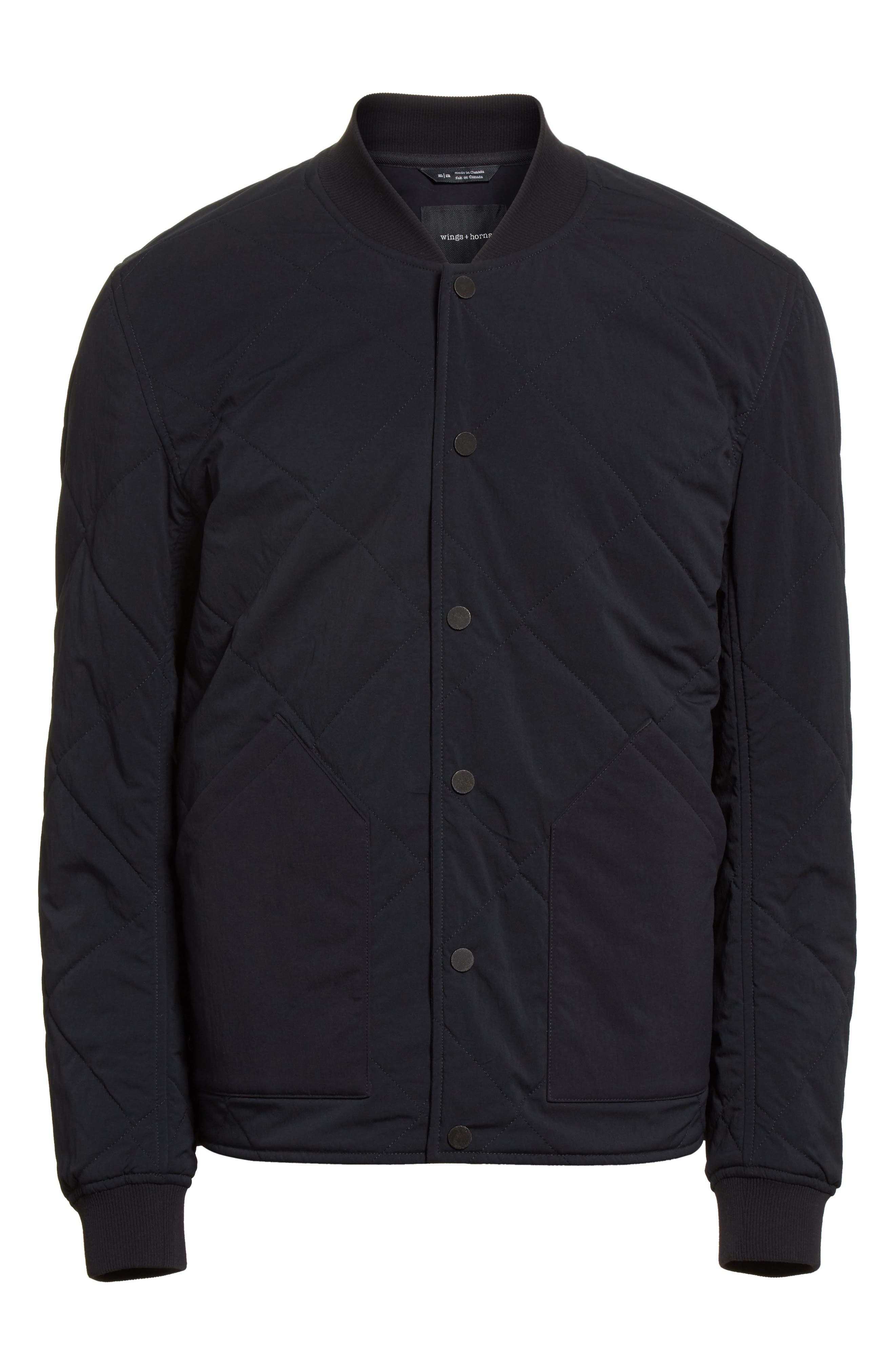 Alpha Quilted Bomber Jacket,                             Alternate thumbnail 6, color,                             001