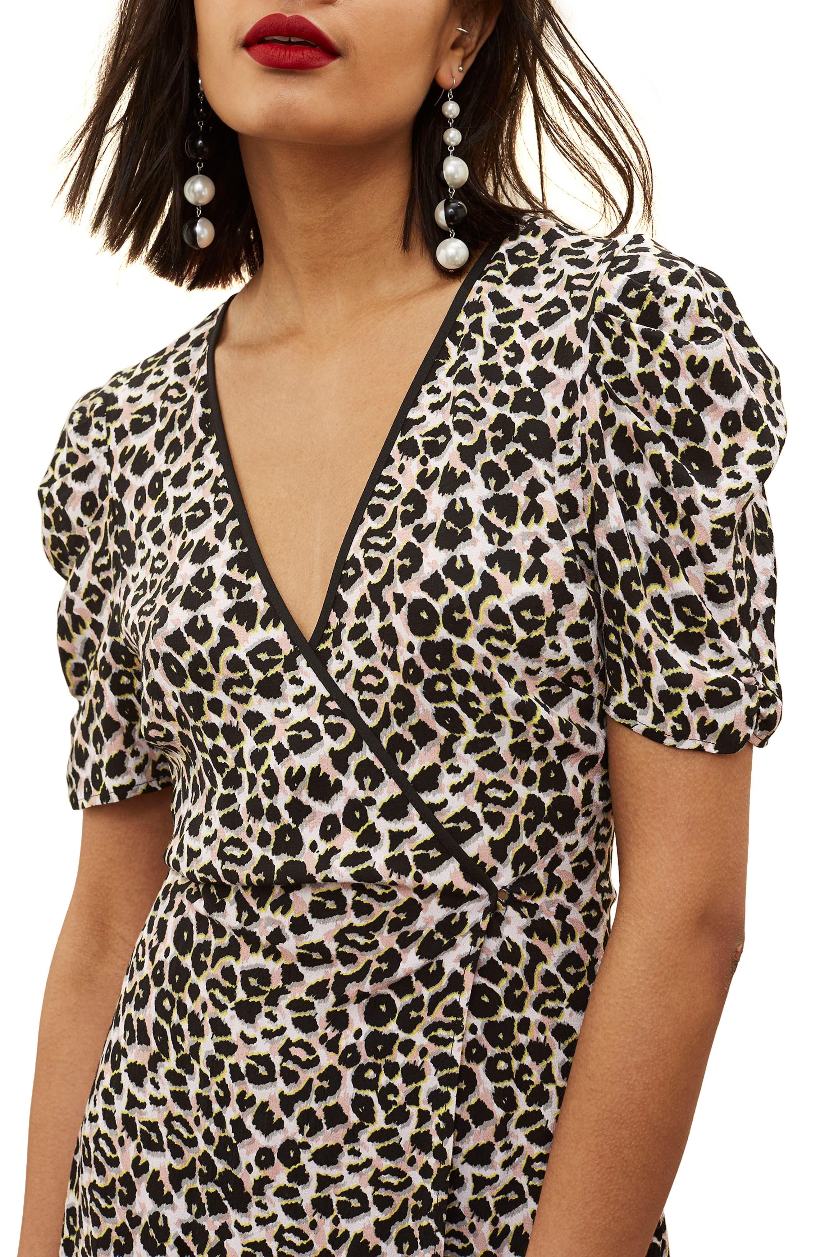 Leopard Wrap Minidress,                             Alternate thumbnail 3, color,                             201