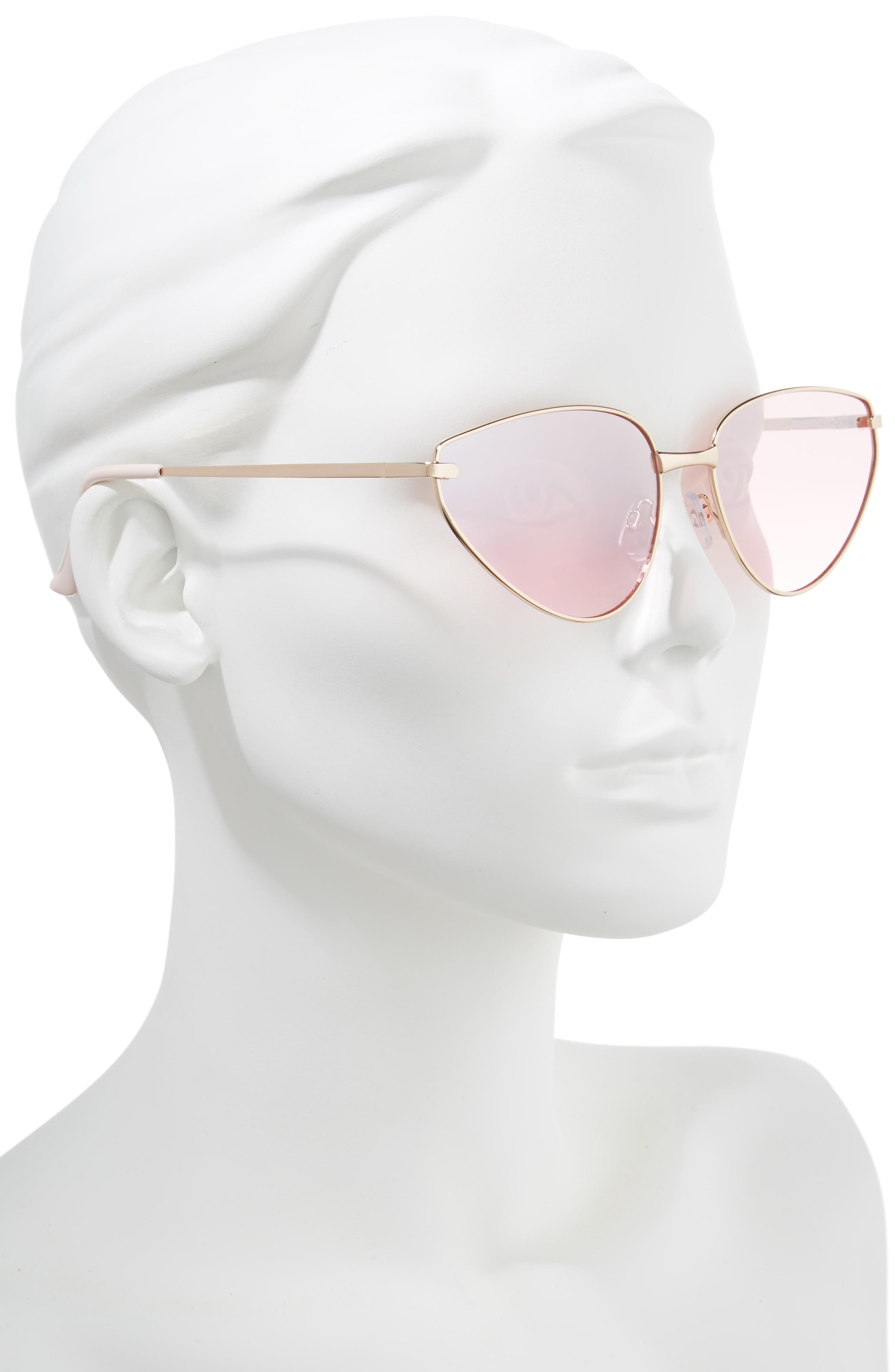 60mm Exaggerated Cat Eye Sunglasses,                             Alternate thumbnail 2, color,                             710