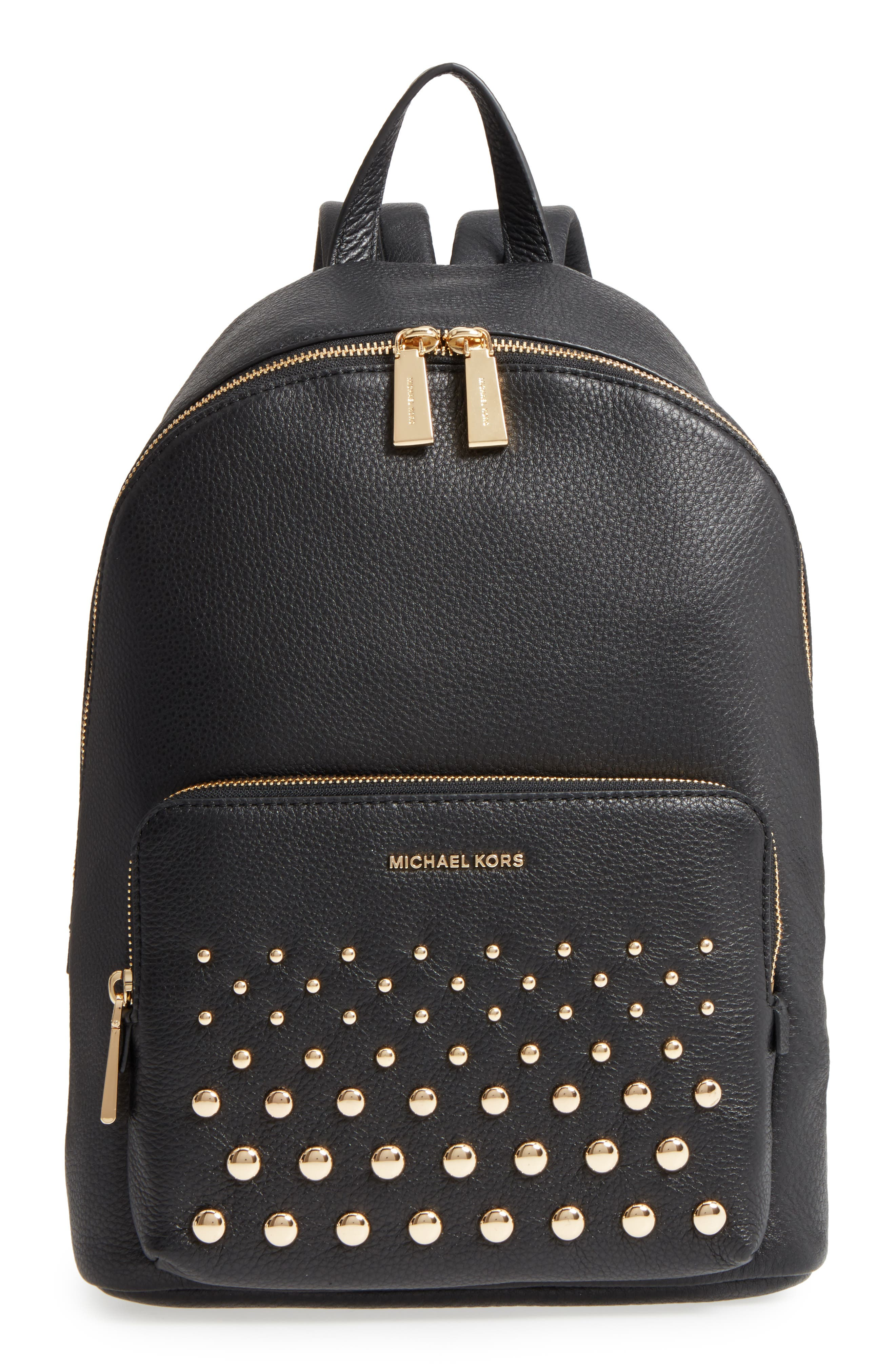 Large Wythe Studded Leather Backpack,                             Main thumbnail 1, color,                             001