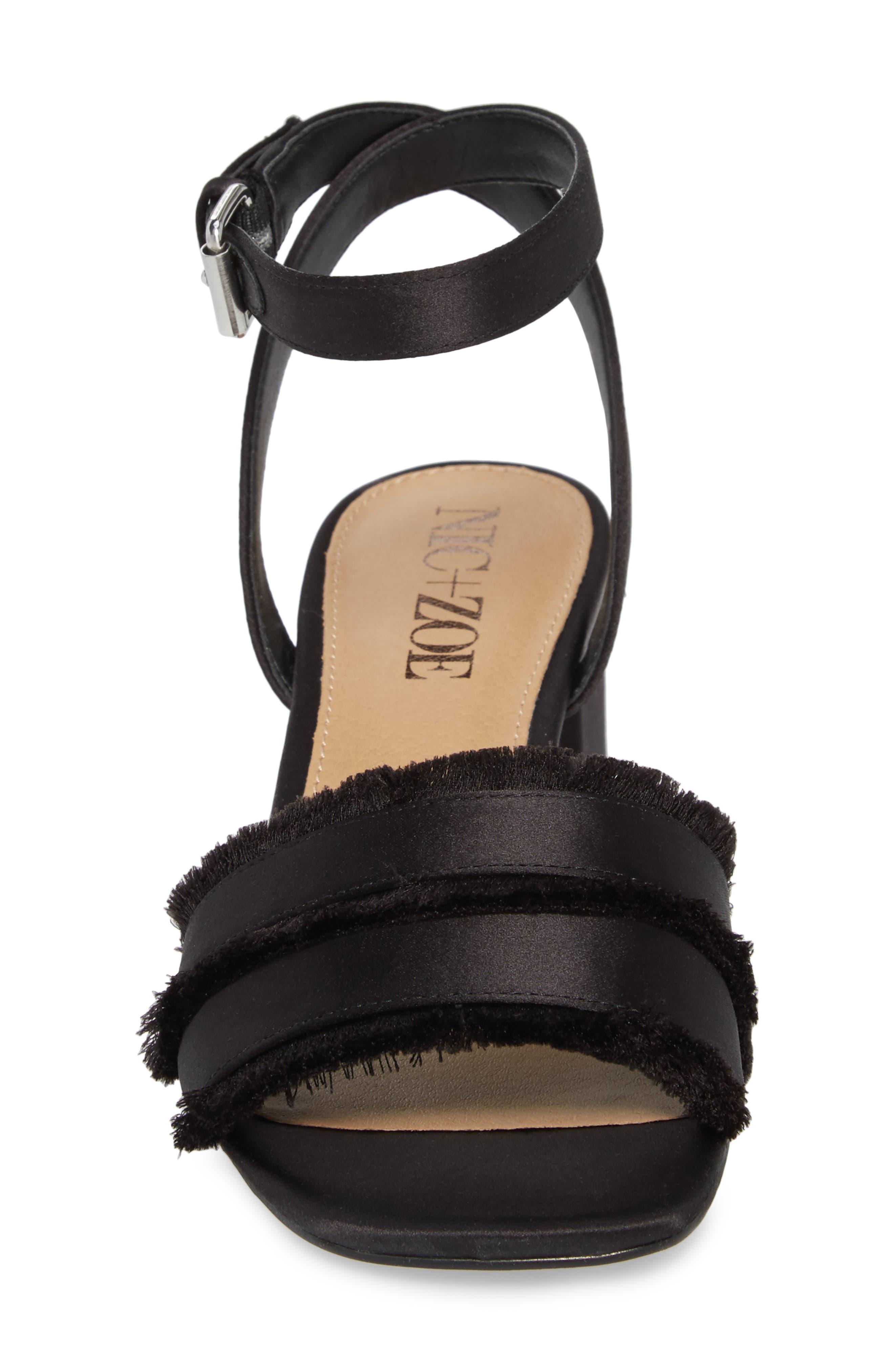 Zaria Fringed Sandal,                             Alternate thumbnail 4, color,                             BLACK SATIN