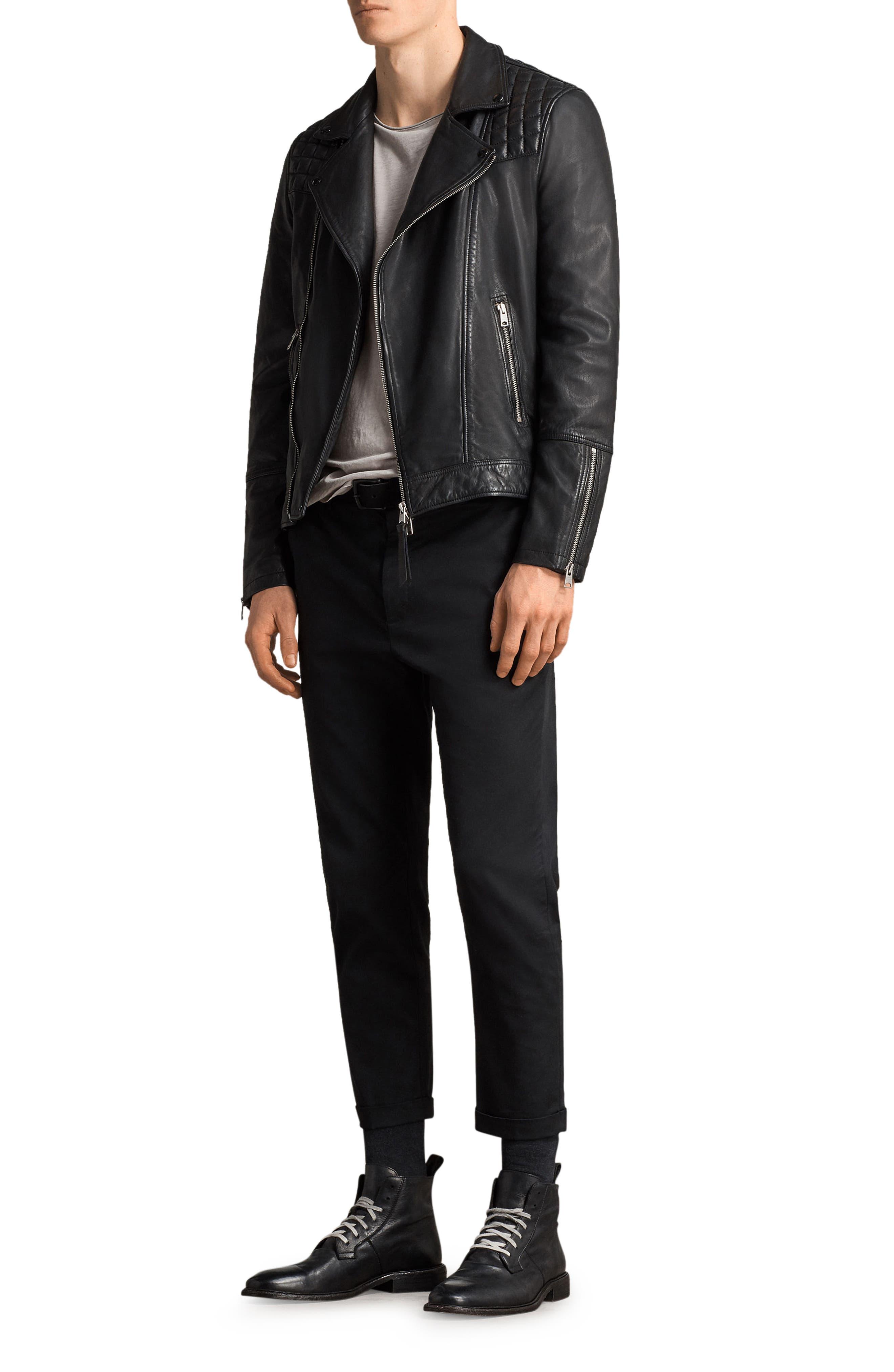 Taro Slim Fit Leather Biker Jacket,                             Alternate thumbnail 4, color,                             001