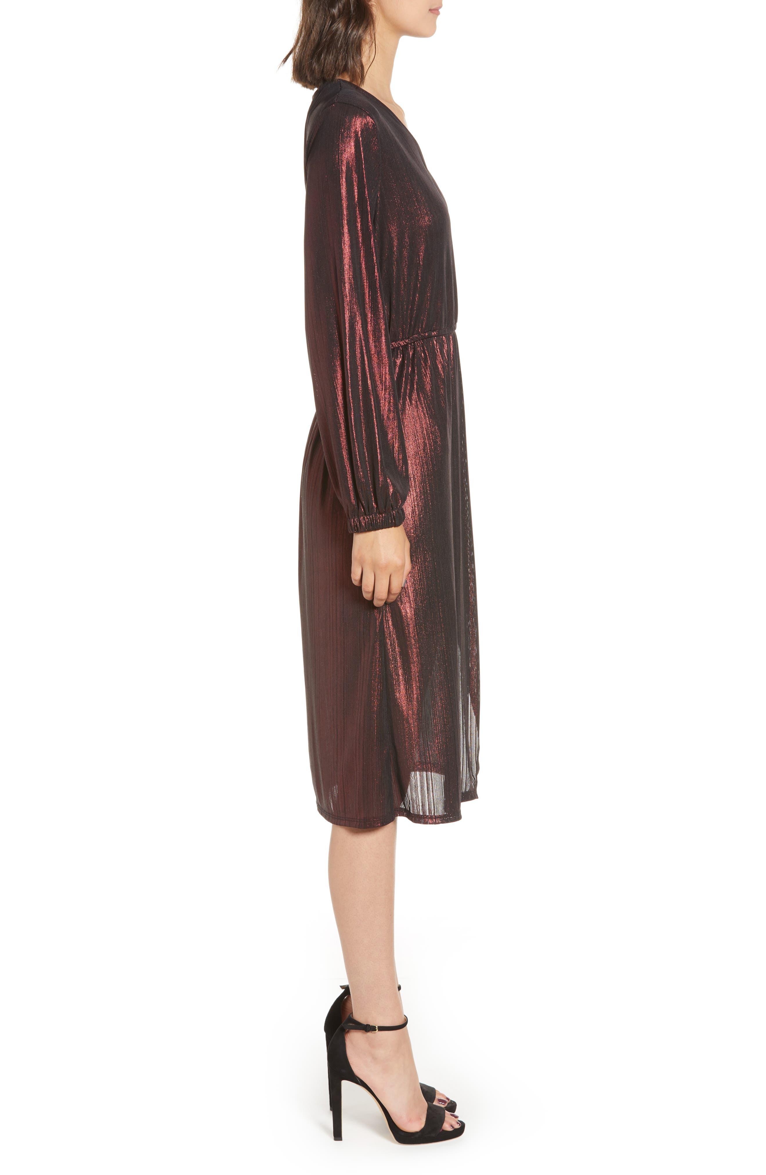 Long Sleeve Deep V-Neck Midi Dress,                             Alternate thumbnail 3, color,                             ROSE GOLD