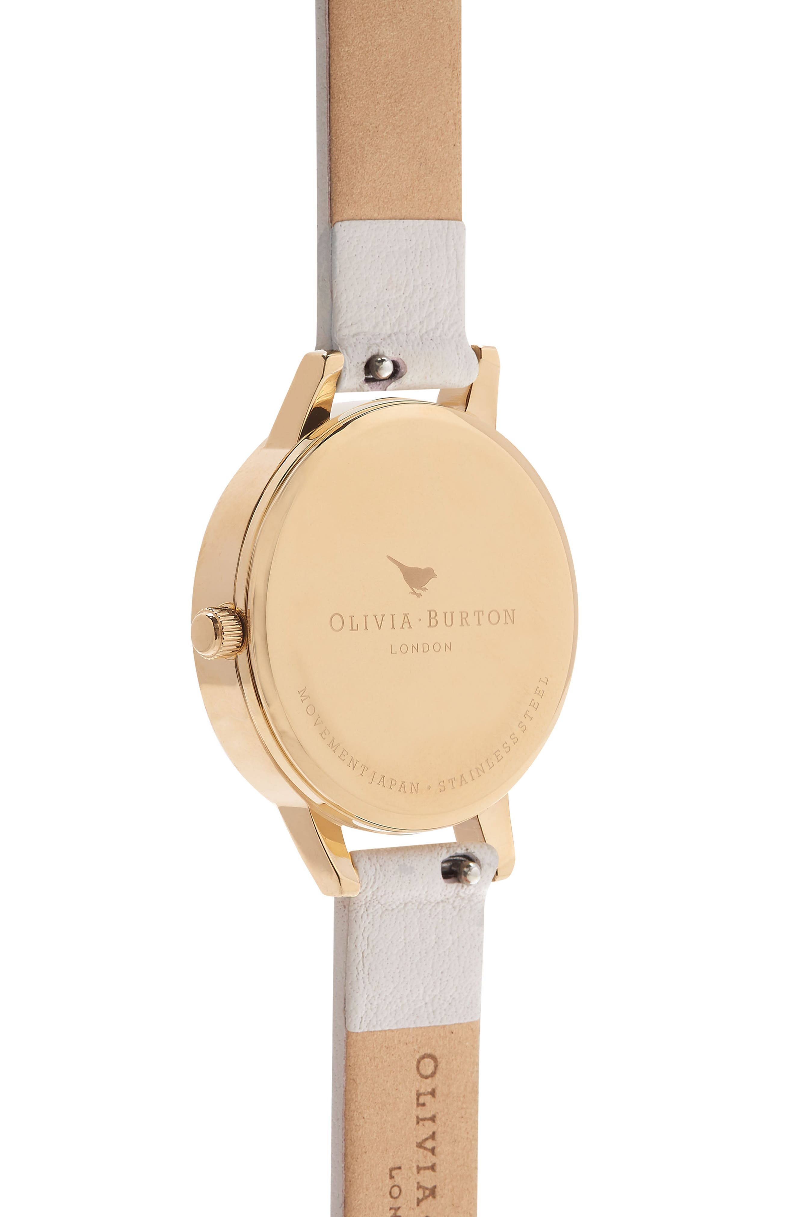Watercolor Floral Leather Strap Watch, 30mm,                             Alternate thumbnail 2, color,                             BLUSH/ WHITE FLORAL/ GOLD