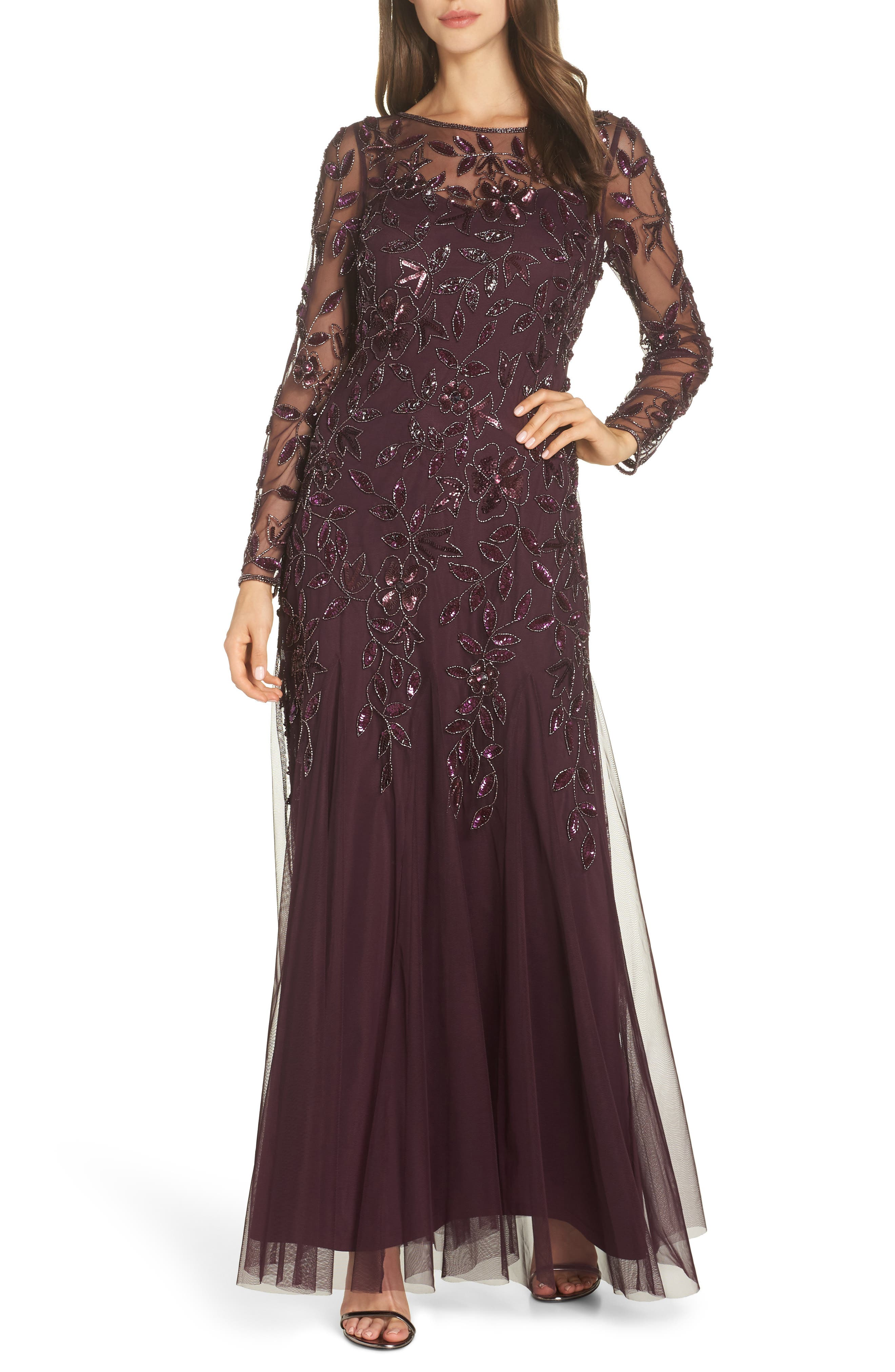 ADRIANNA PAPELL Floral Bead Embellished Gown in Night Plum