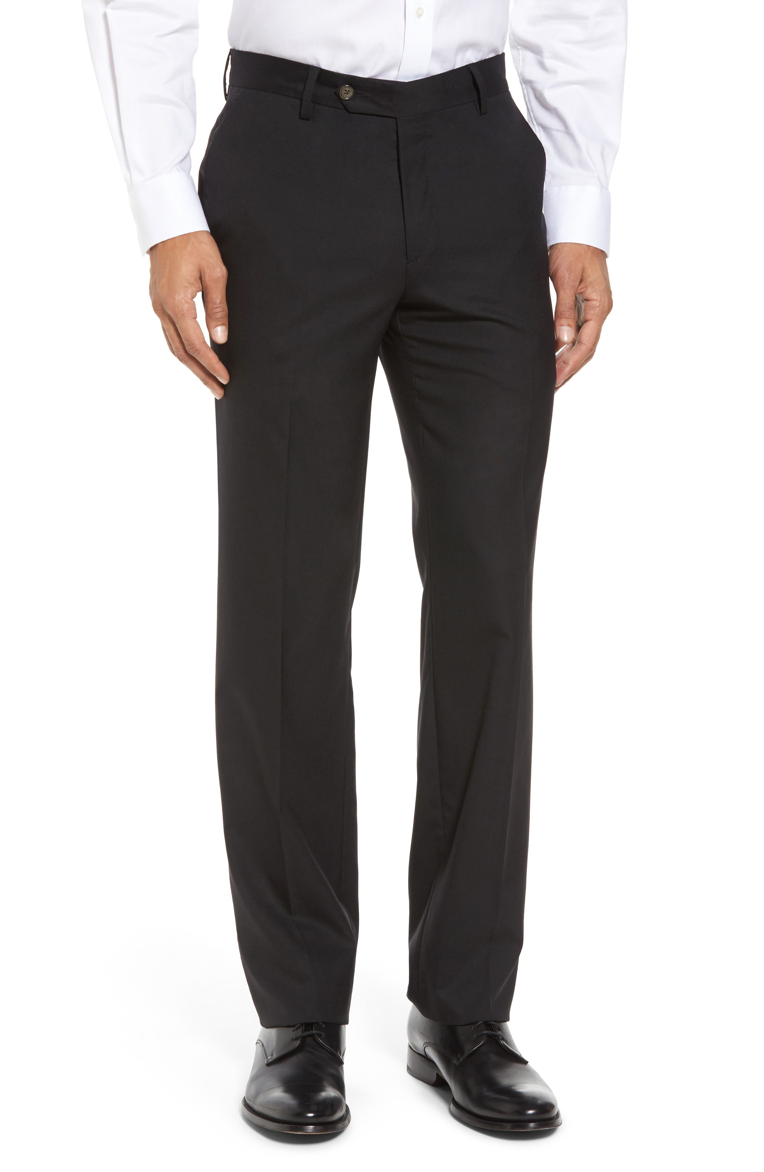 BERLE Flat Front Stretch Solid Wool Trousers, Main, color, 001