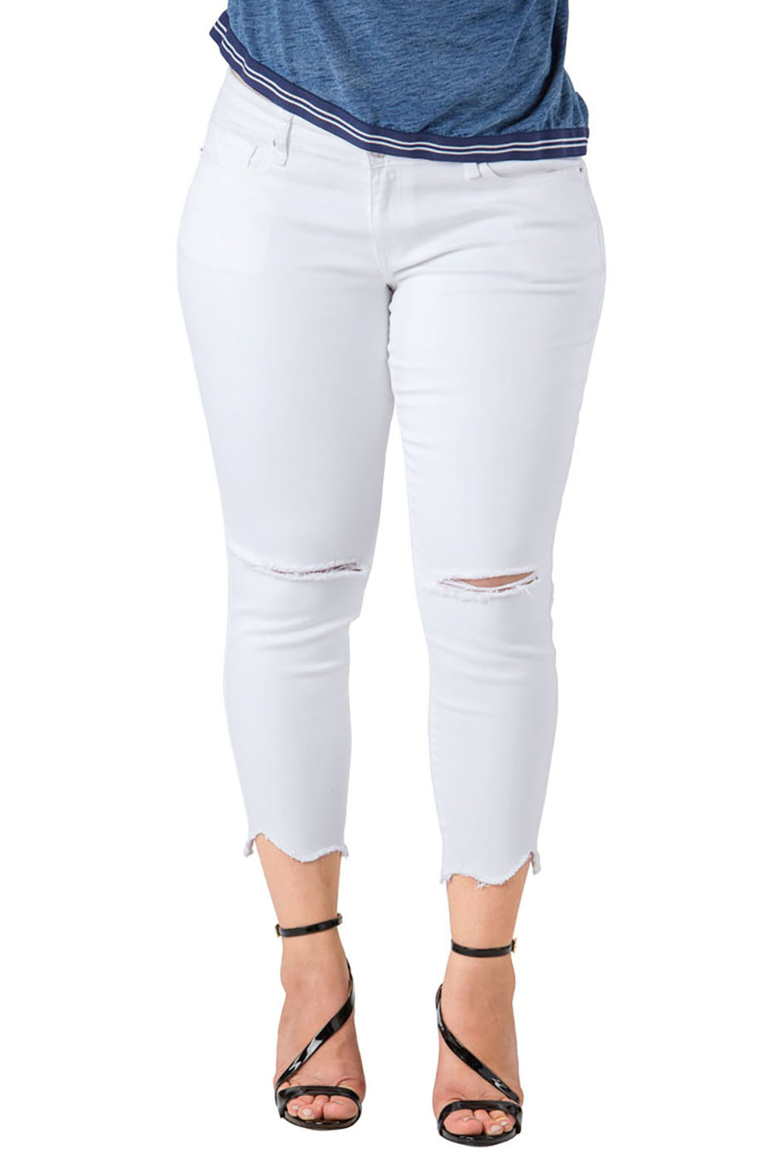 Tessa Chewed Hem Stretch Skinny Jeans,                             Main thumbnail 1, color,                             WHITE