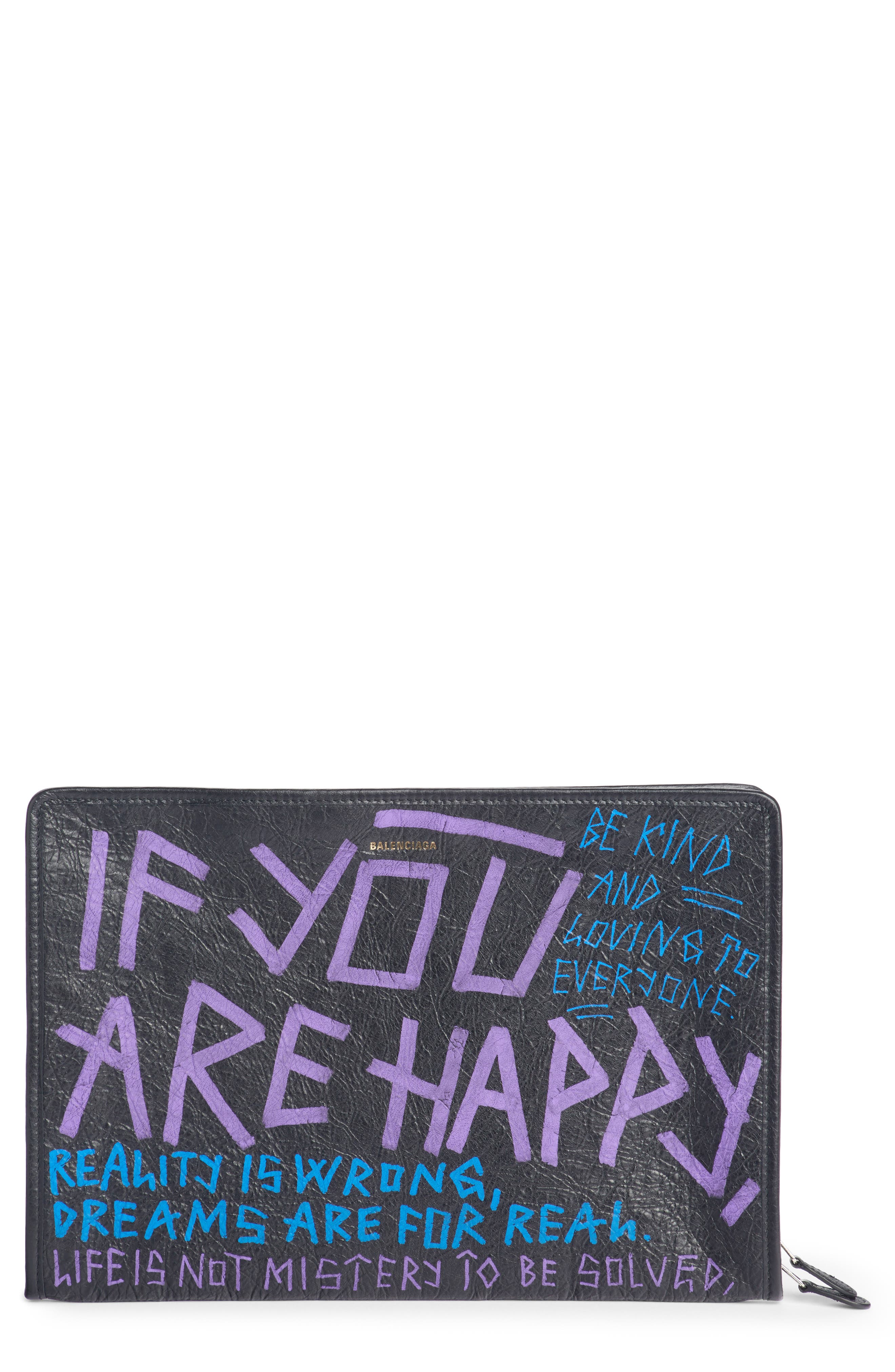 Bazar 'If You Are Happy, Be Kind' Graffiti Leather Pouch Bag in Black