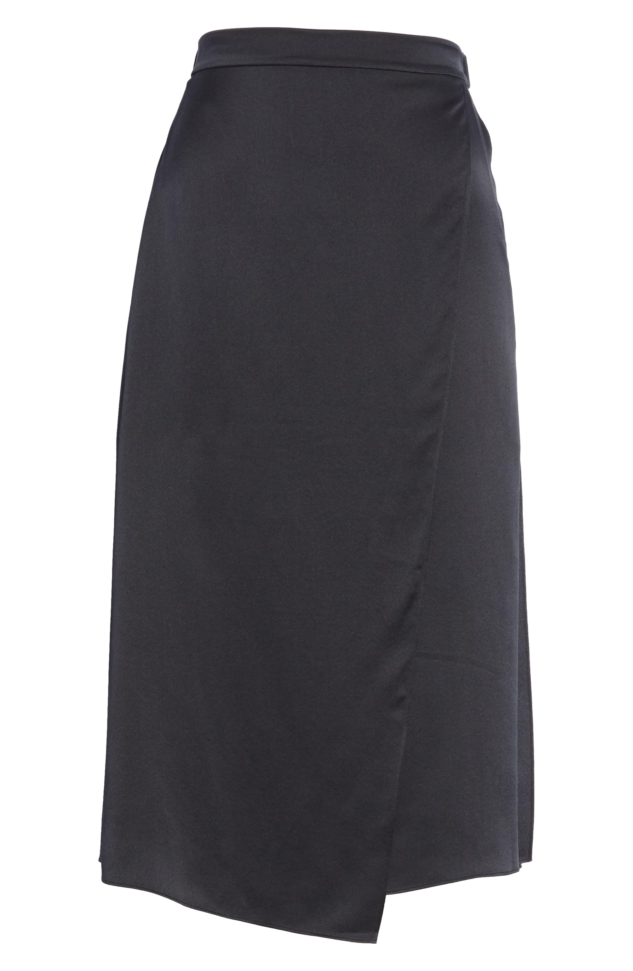 Drape Panel Silk Skirt,                             Alternate thumbnail 6, color,                             BLACK