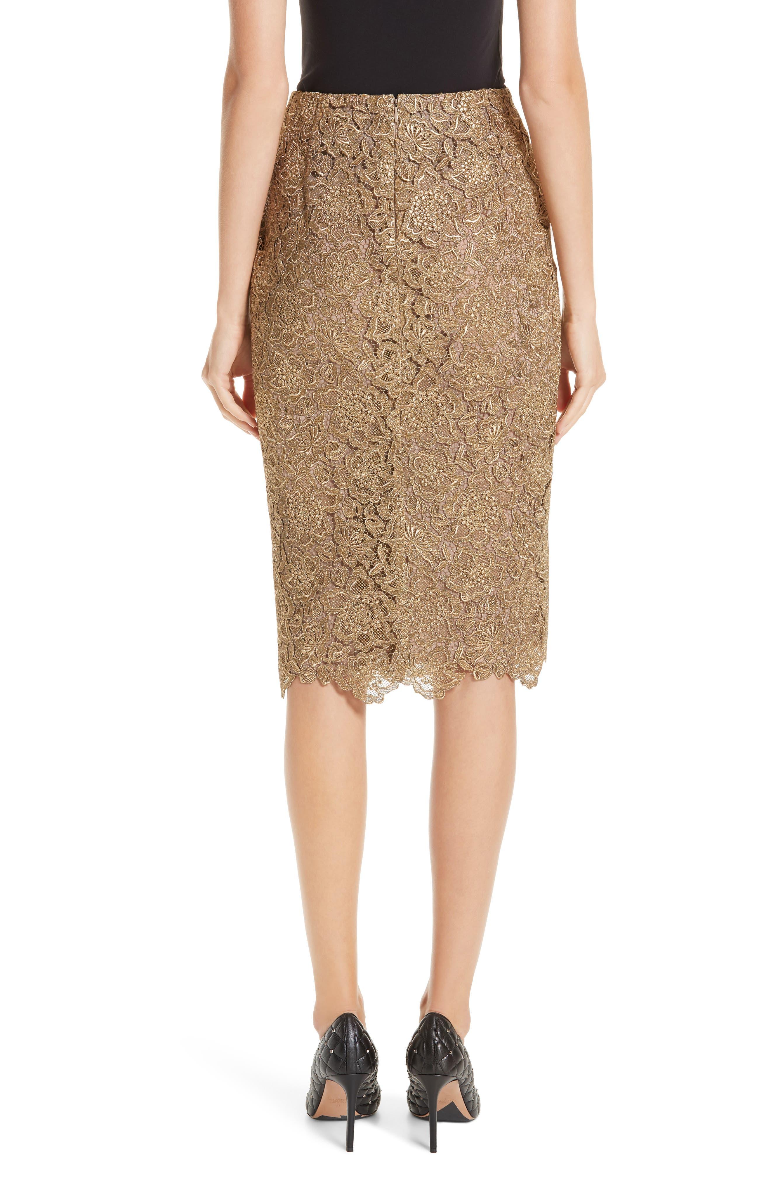 Anemone Guipure Lace Pencil Skirt,                             Alternate thumbnail 2, color,                             GOLD