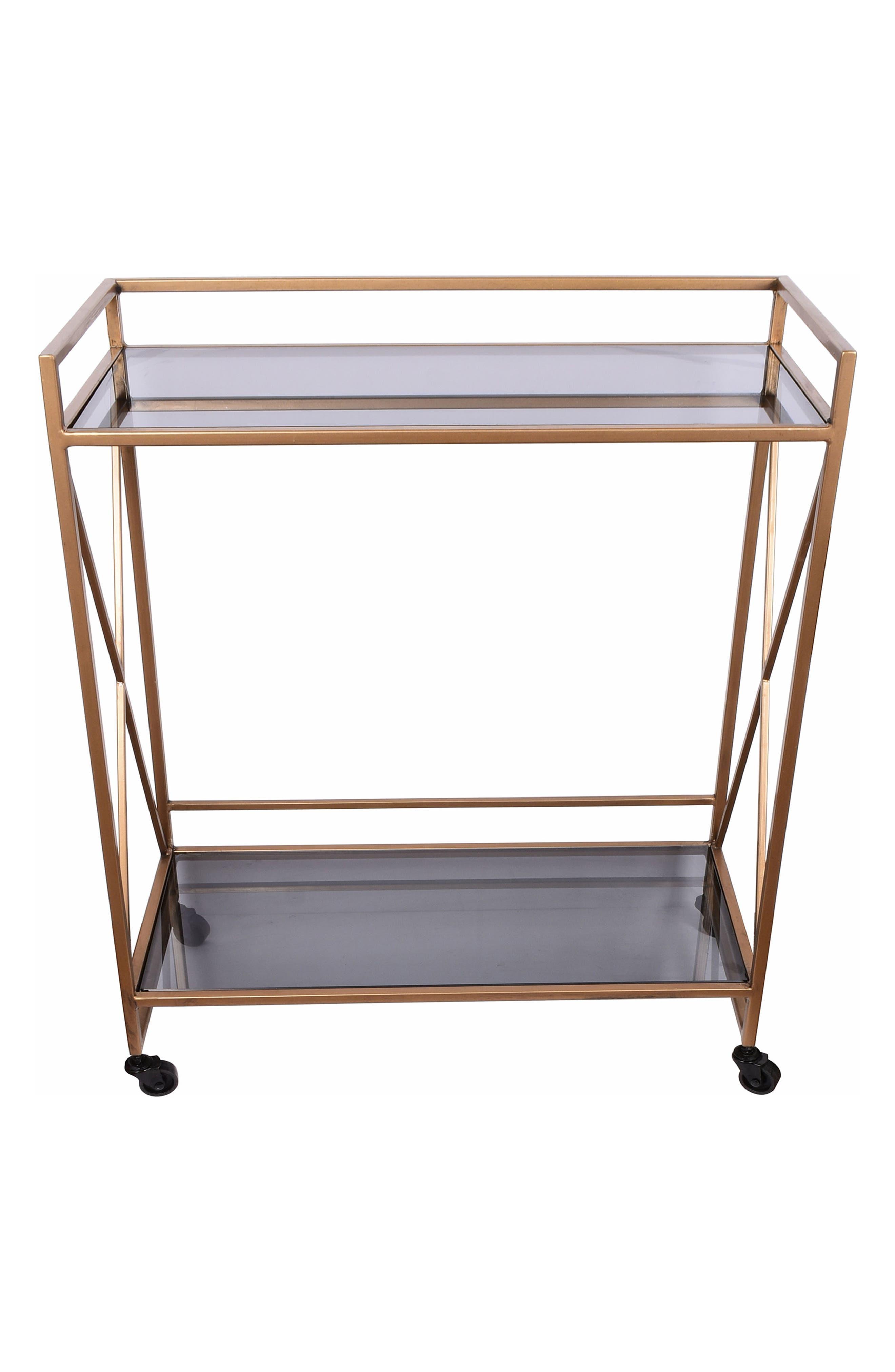 E2 CONCEPTS,                             Framed Metal & Glass Serving Cart,                             Main thumbnail 1, color,                             GOLD
