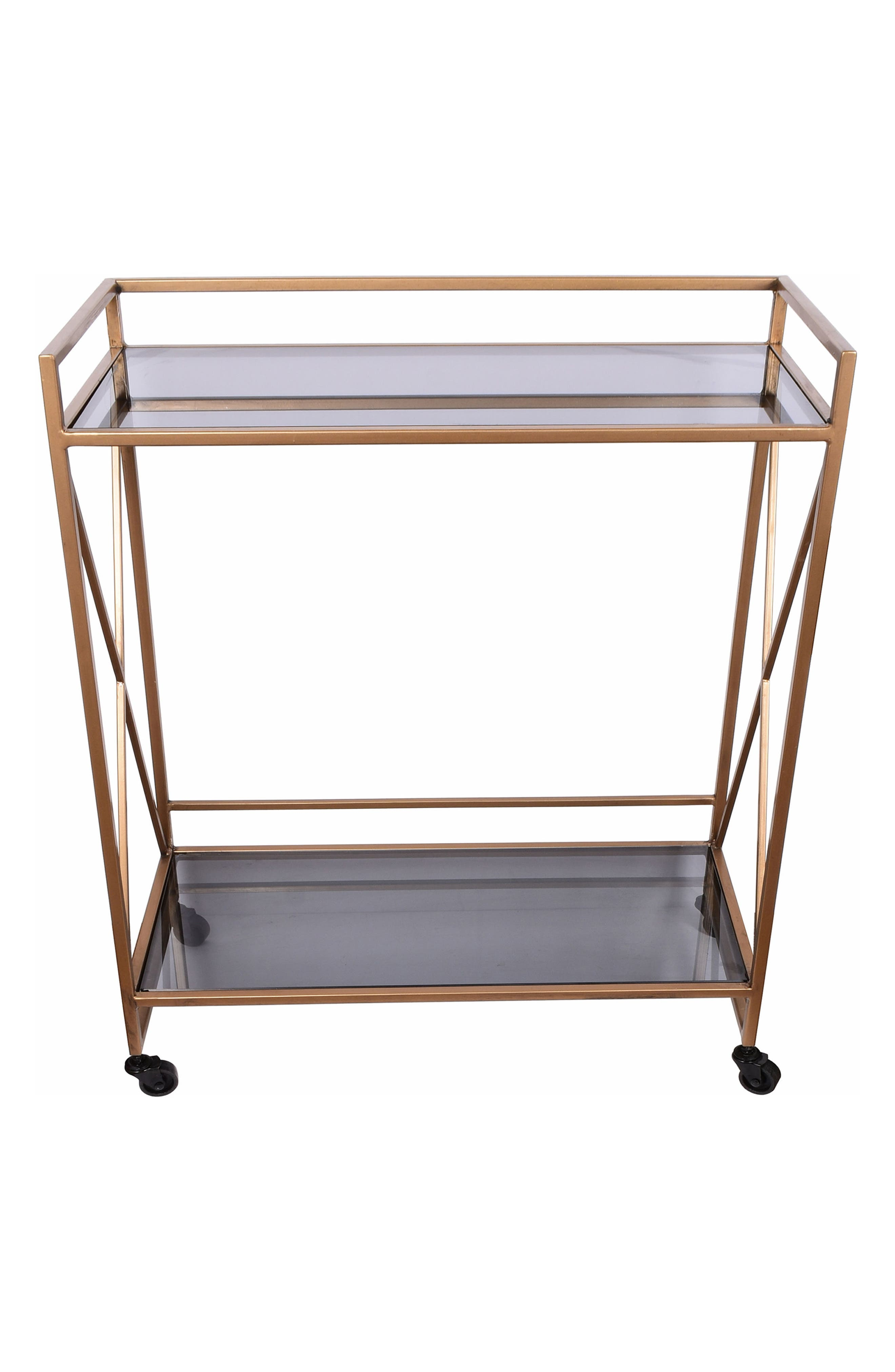 E2 CONCEPTS Framed Metal & Glass Serving Cart, Main, color, GOLD