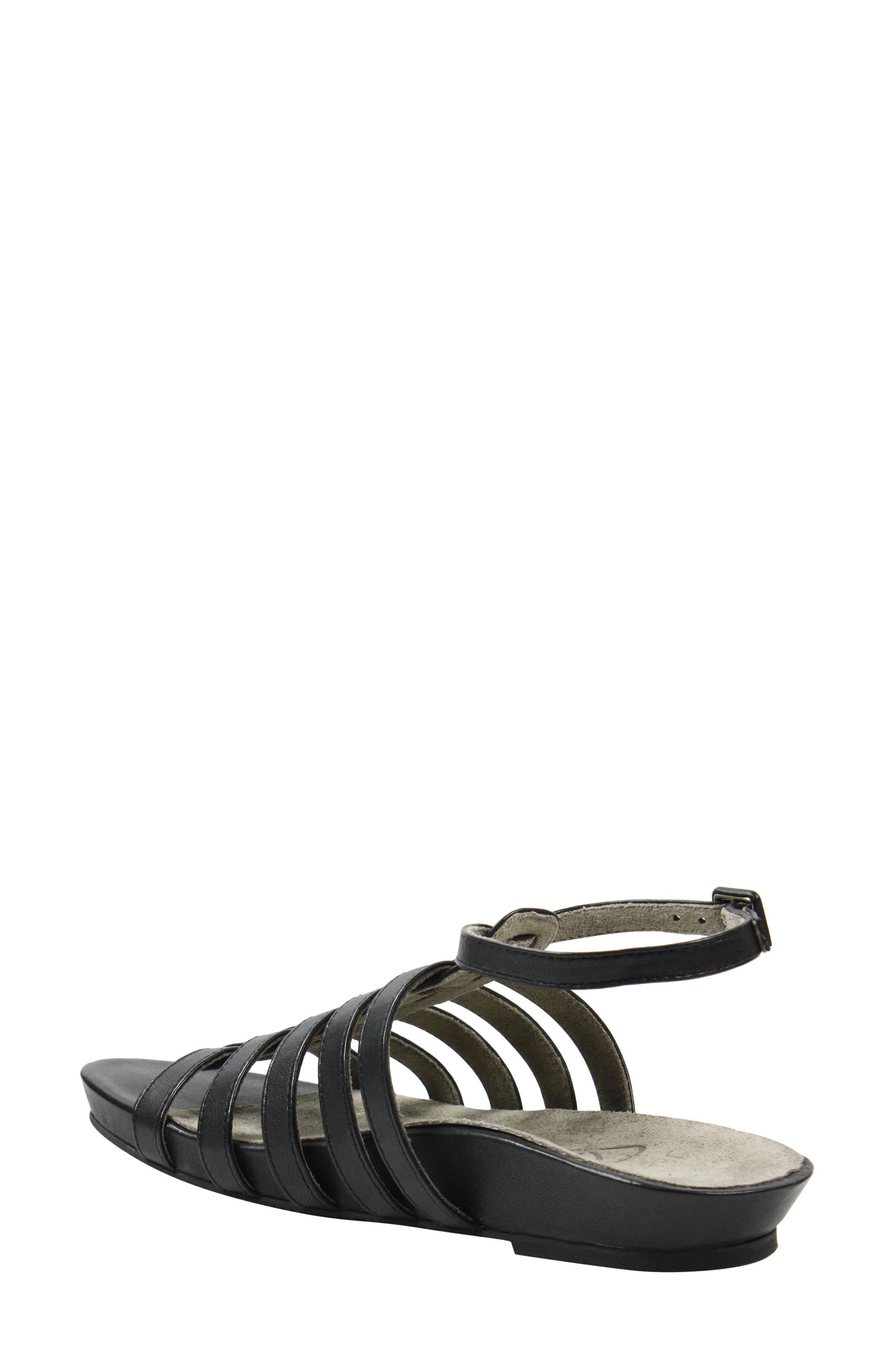 Delmor Ankle Strap Sandal,                             Alternate thumbnail 2, color,                             BLACK LEATHER