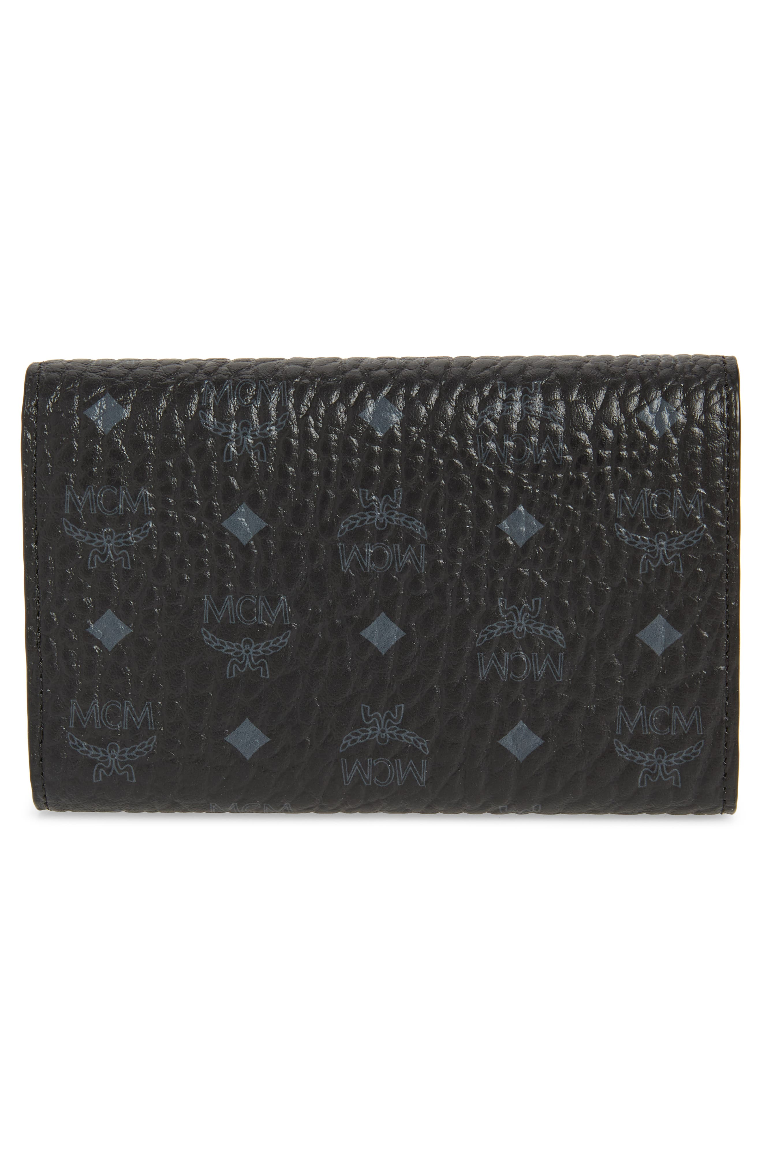 Small French Trifold Wallet,                             Alternate thumbnail 3, color,                             BLACK
