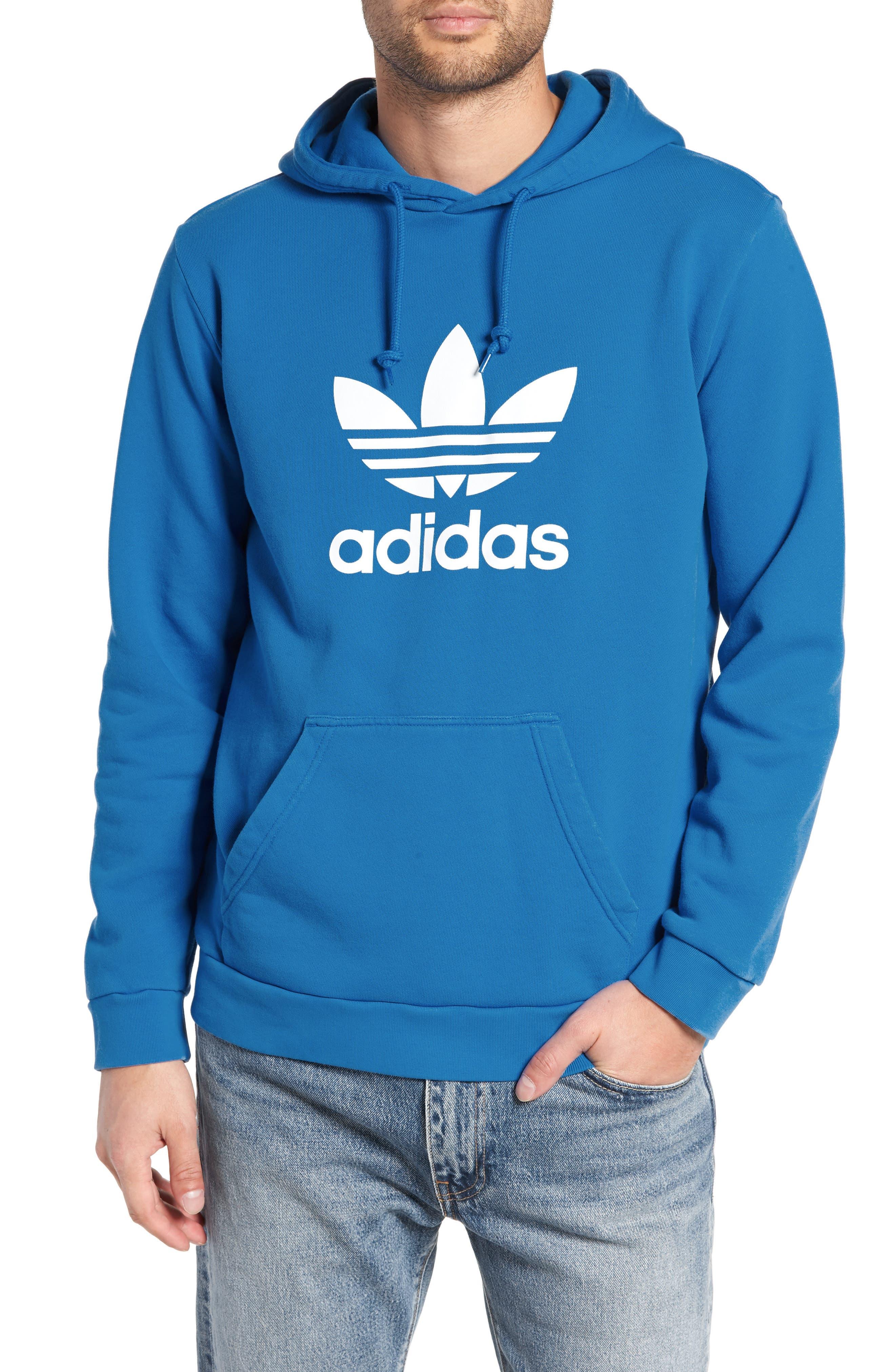 Trefoil Logo Pullover Hoodie,                         Main,                         color, BLUEBIRD
