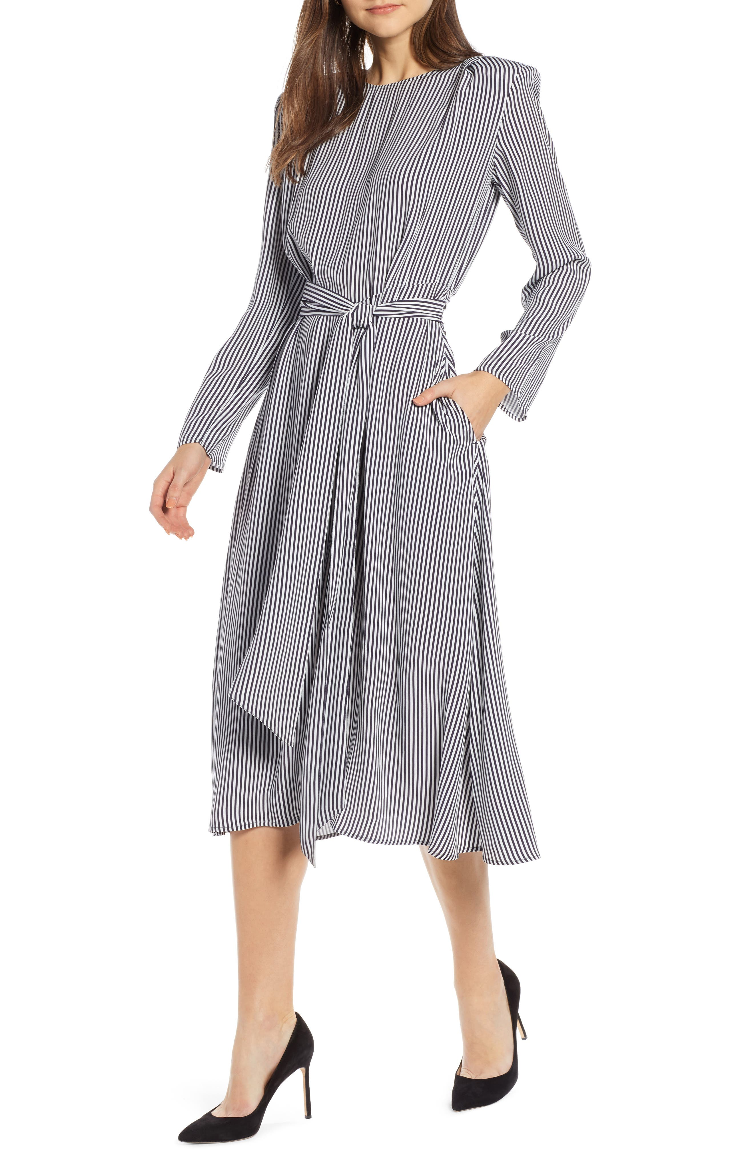 Belted Midi Dress,                             Main thumbnail 1, color,                             NAVY NIGHT TWO STRIPE