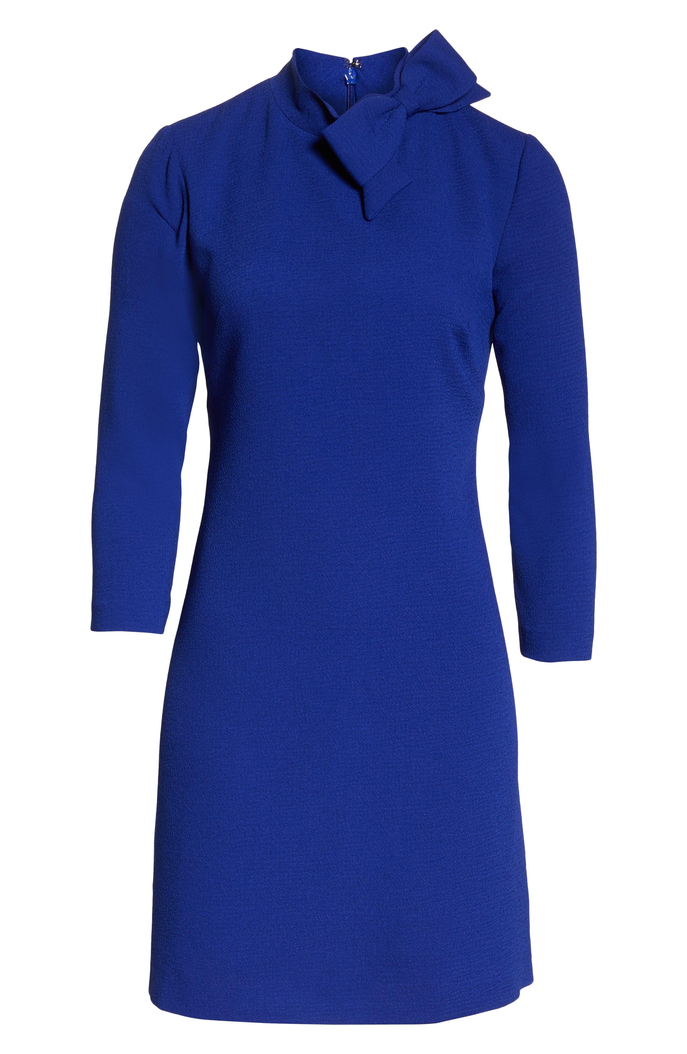 Bow Crepe A-Line Dress,                             Alternate thumbnail 7, color,                             COBALT