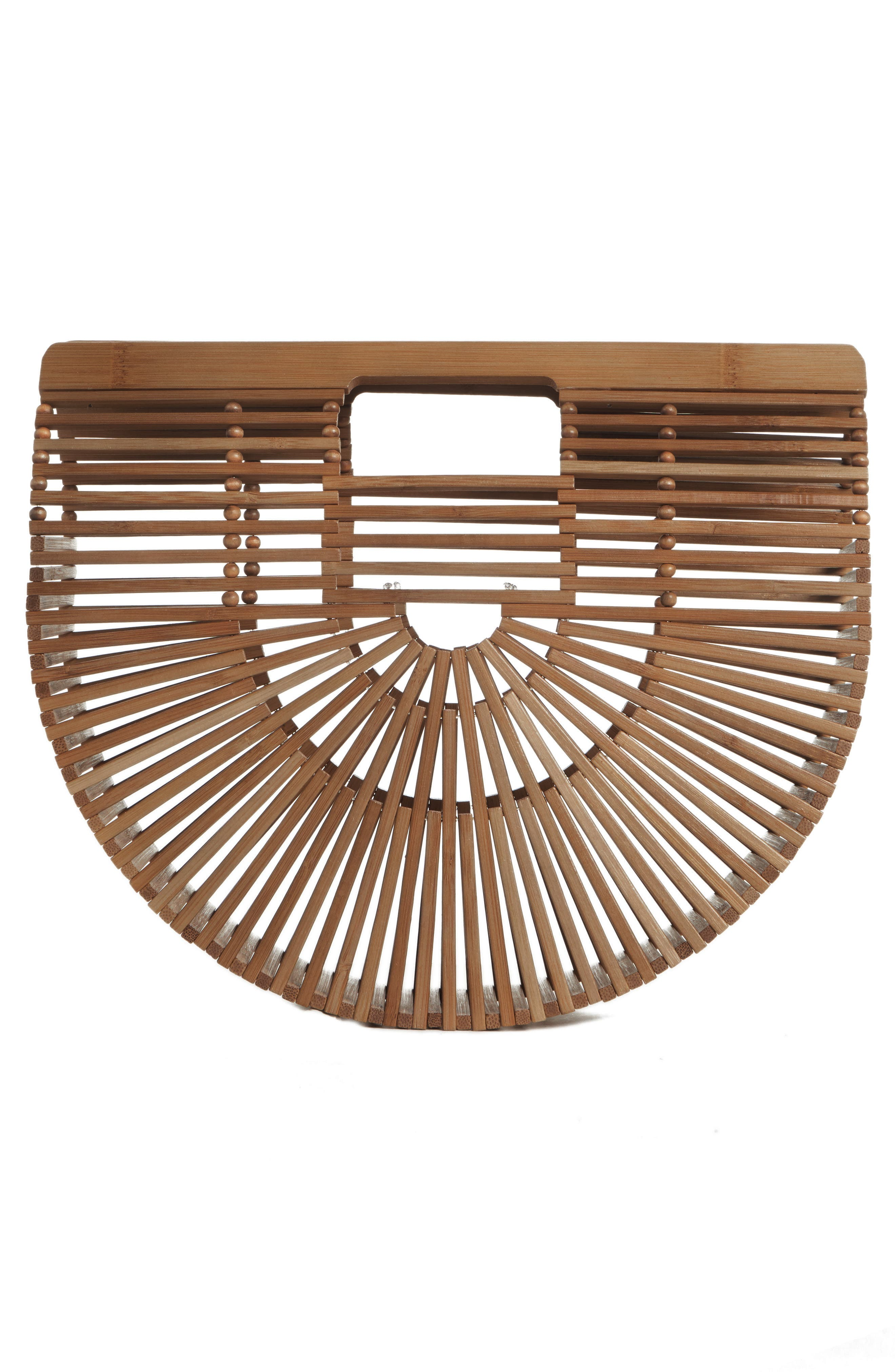 Small Ark Bamboo Handbag,                             Alternate thumbnail 3, color,                             CHESTNUT