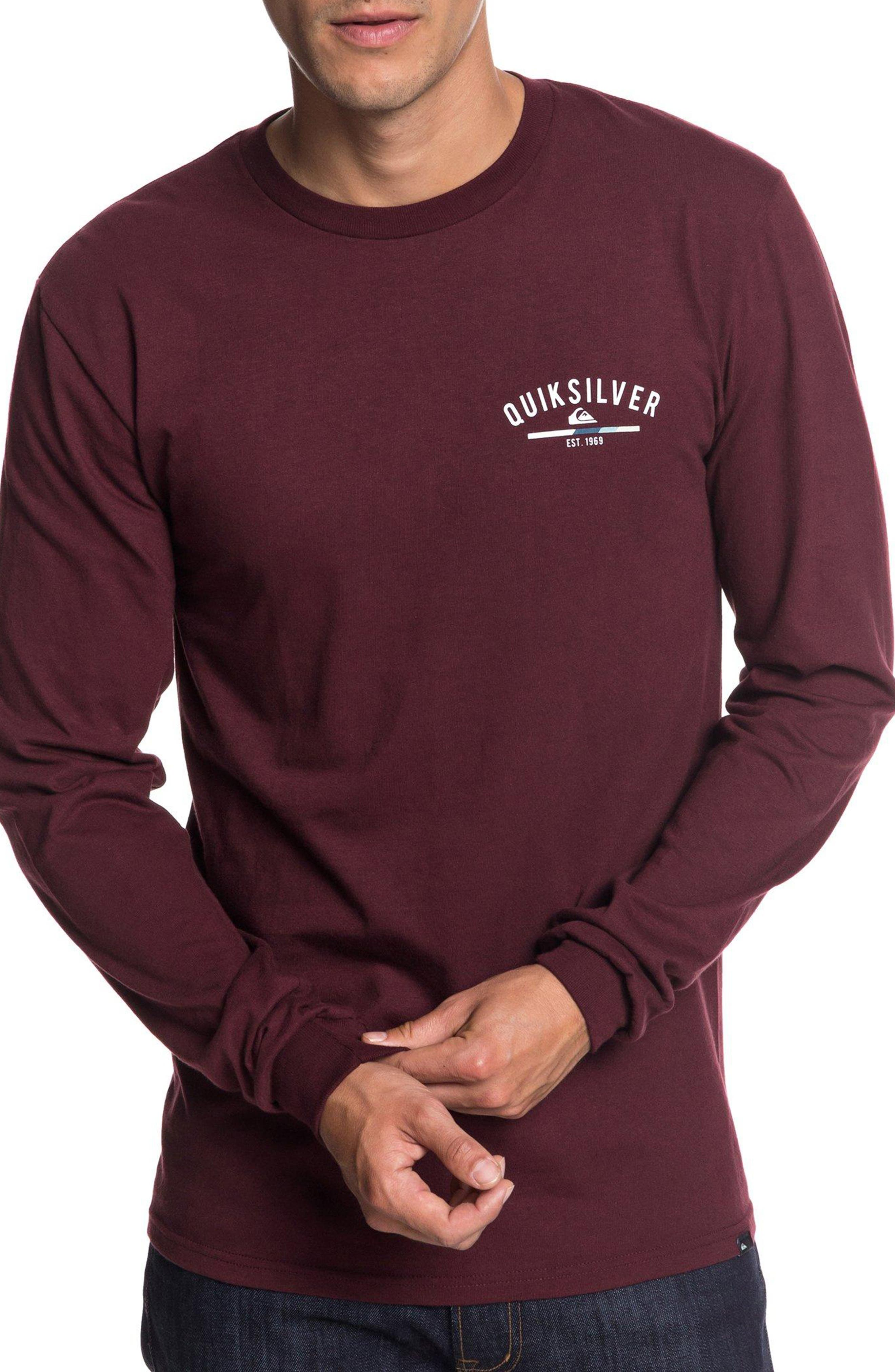QUIKSILVER Simple Colour Long Sleeve T-Shirt in Port Royale