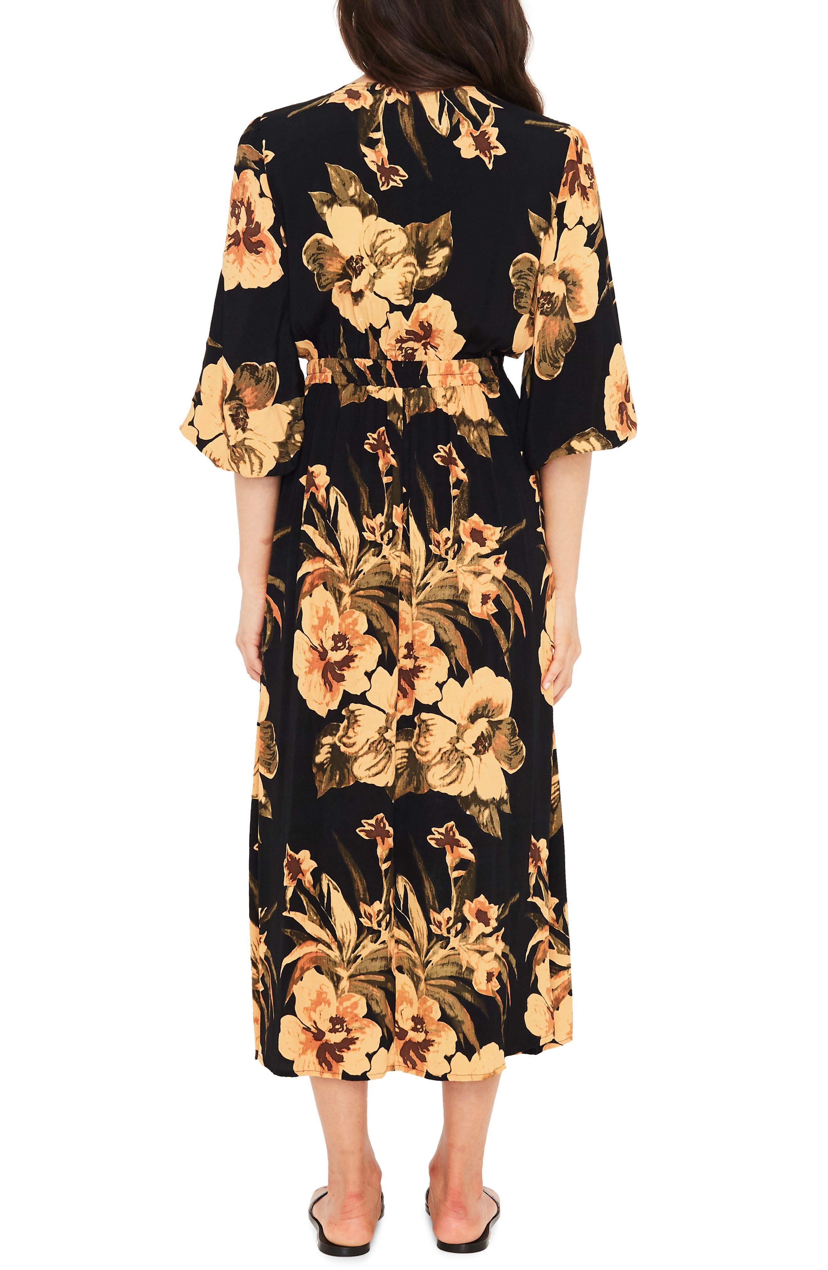 Oliviera Floral Print Cutout Midi Dress,                             Alternate thumbnail 2, color,                             CARIBBEAN PRINT