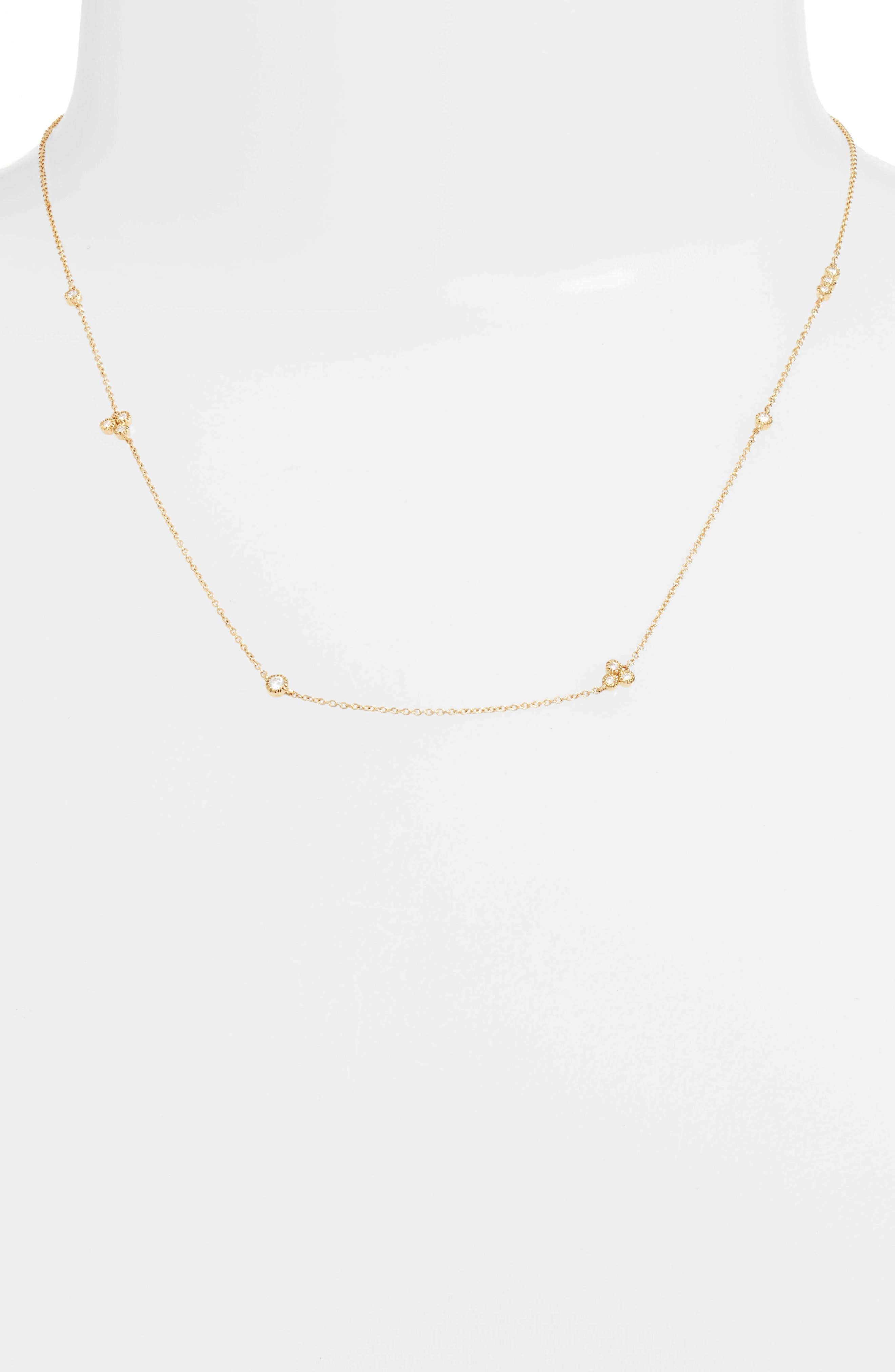 Harlowe Short Diamond Station Necklace,                             Main thumbnail 1, color,                             710