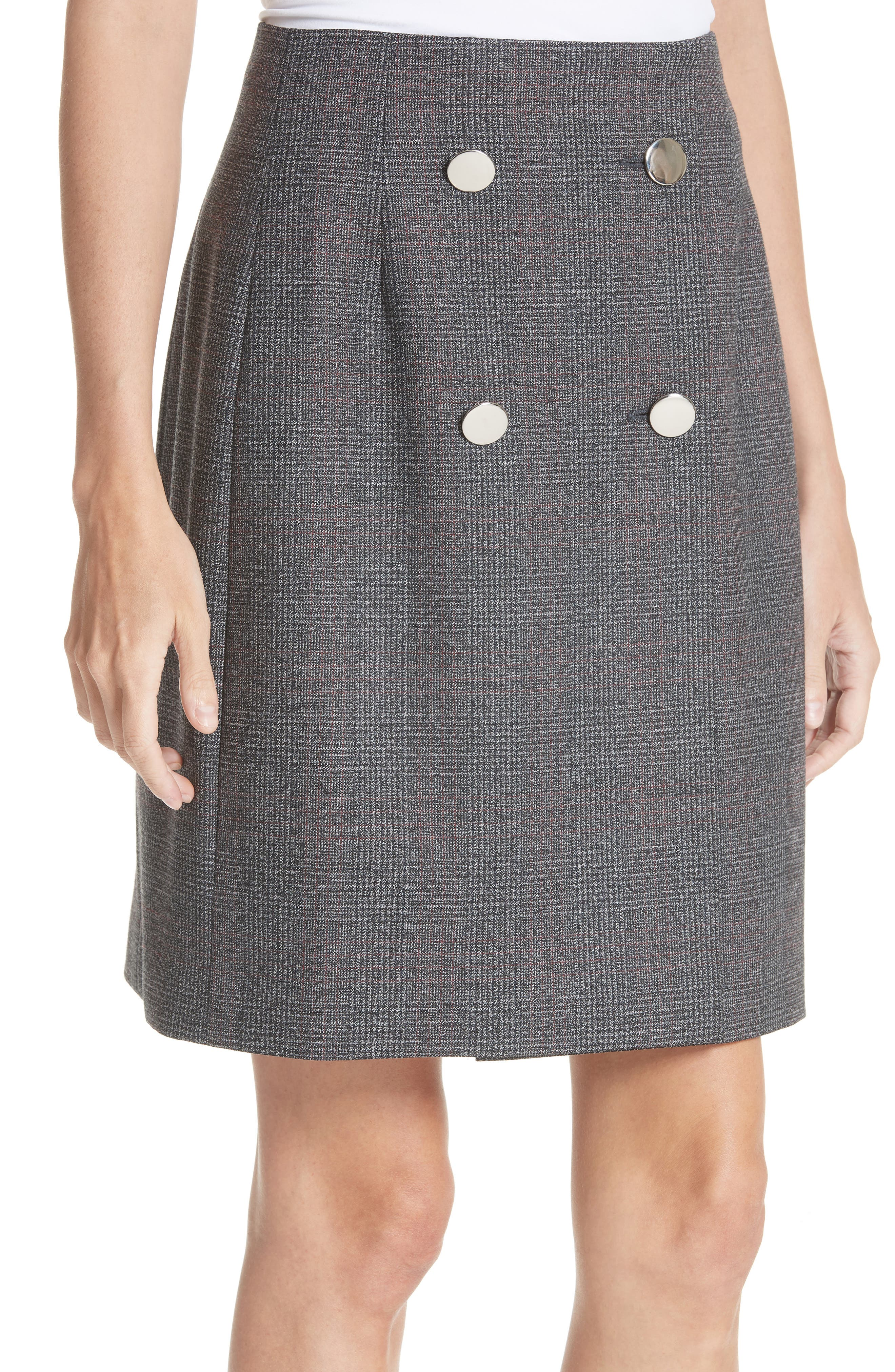 Lace Trim Wool Skirt,                             Alternate thumbnail 2, color,                             DARK GREY GRENADINE