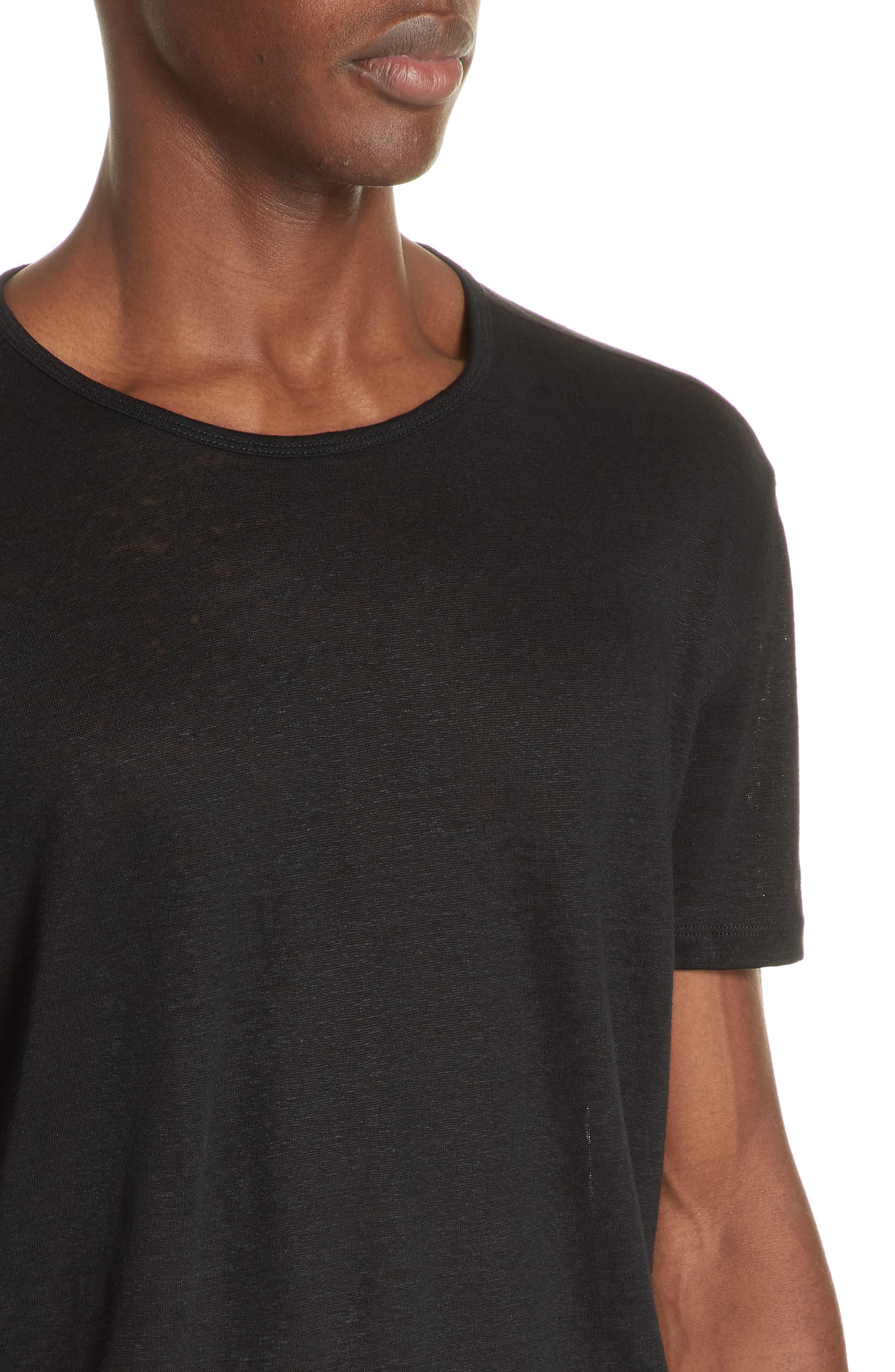 Linen Crewneck T-Shirt,                             Alternate thumbnail 4, color,                             BLACK
