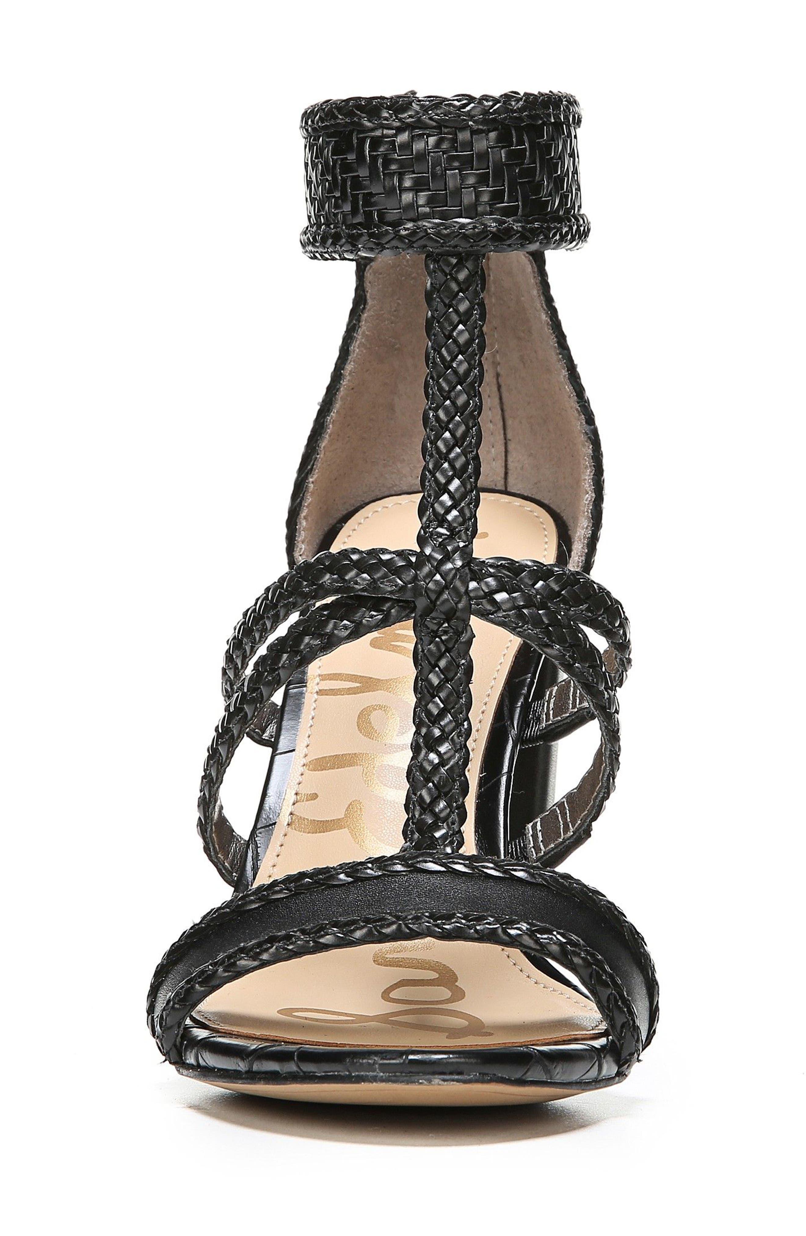 Yordana Woven T-Strap Sandal,                             Alternate thumbnail 4, color,                             001