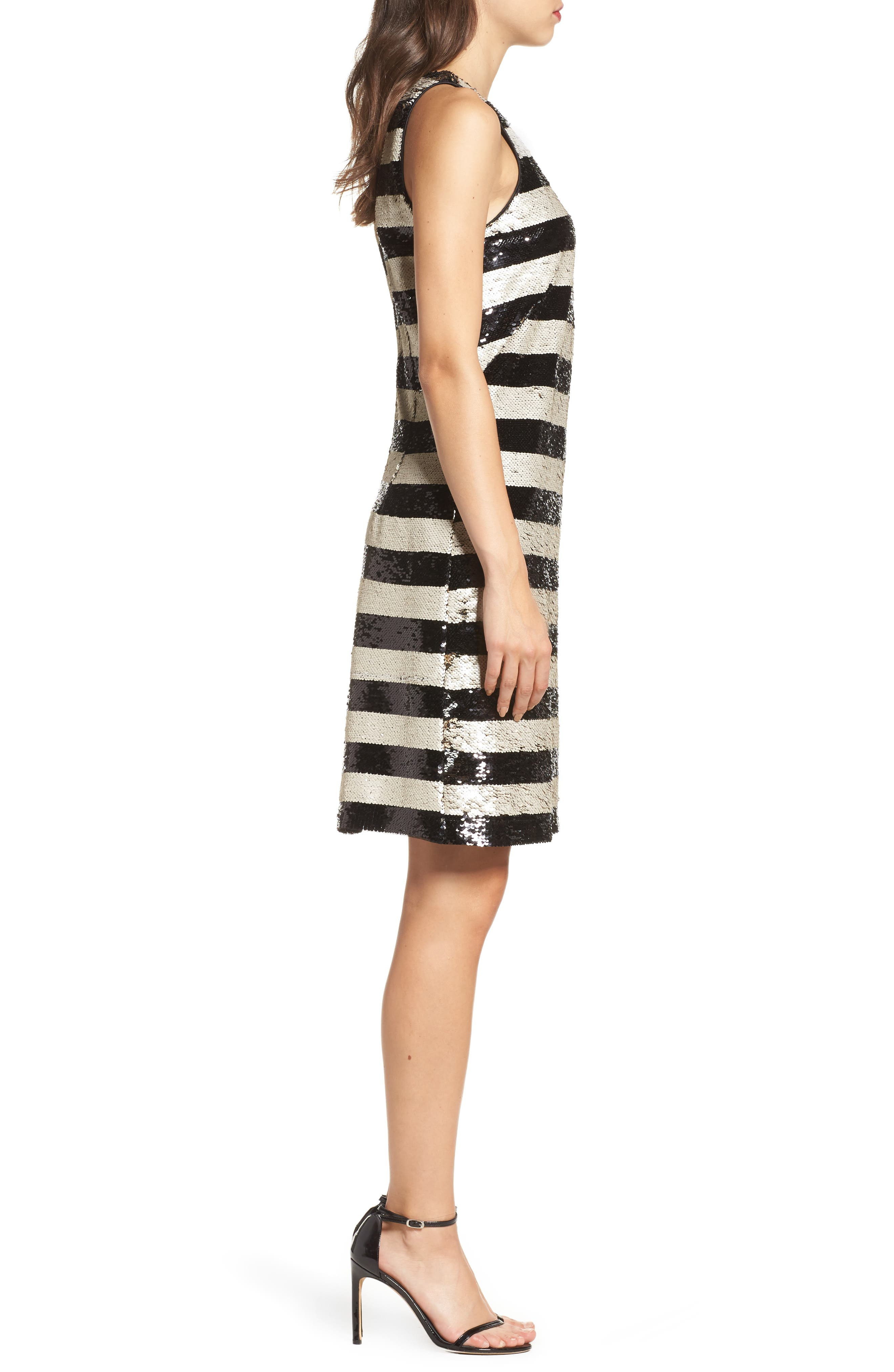 Reversible Stripe Sequin Shift Dress,                             Alternate thumbnail 3, color,                             006