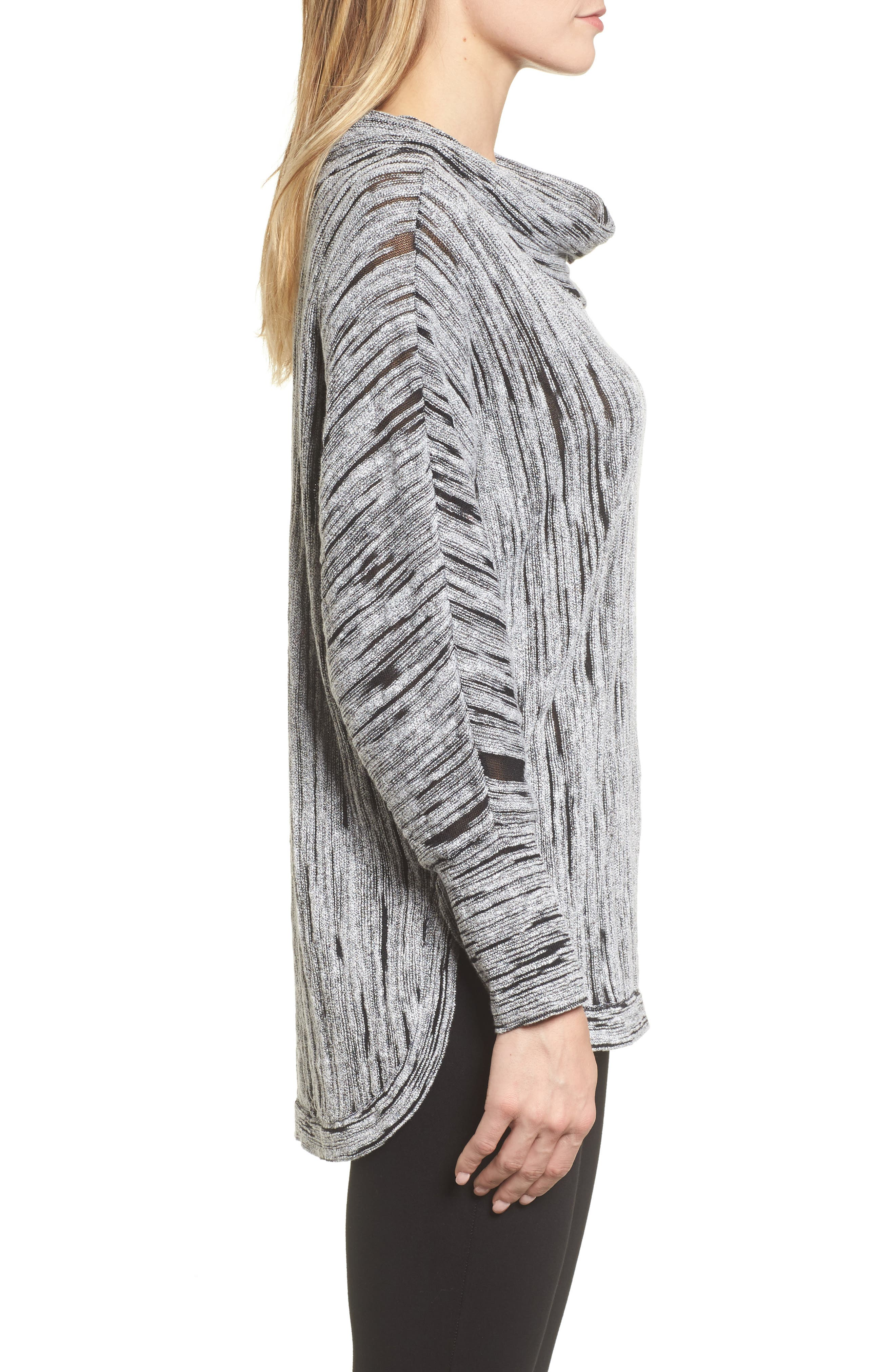 Cowl Neck Open Stitch Sweater,                             Alternate thumbnail 3, color,                             004