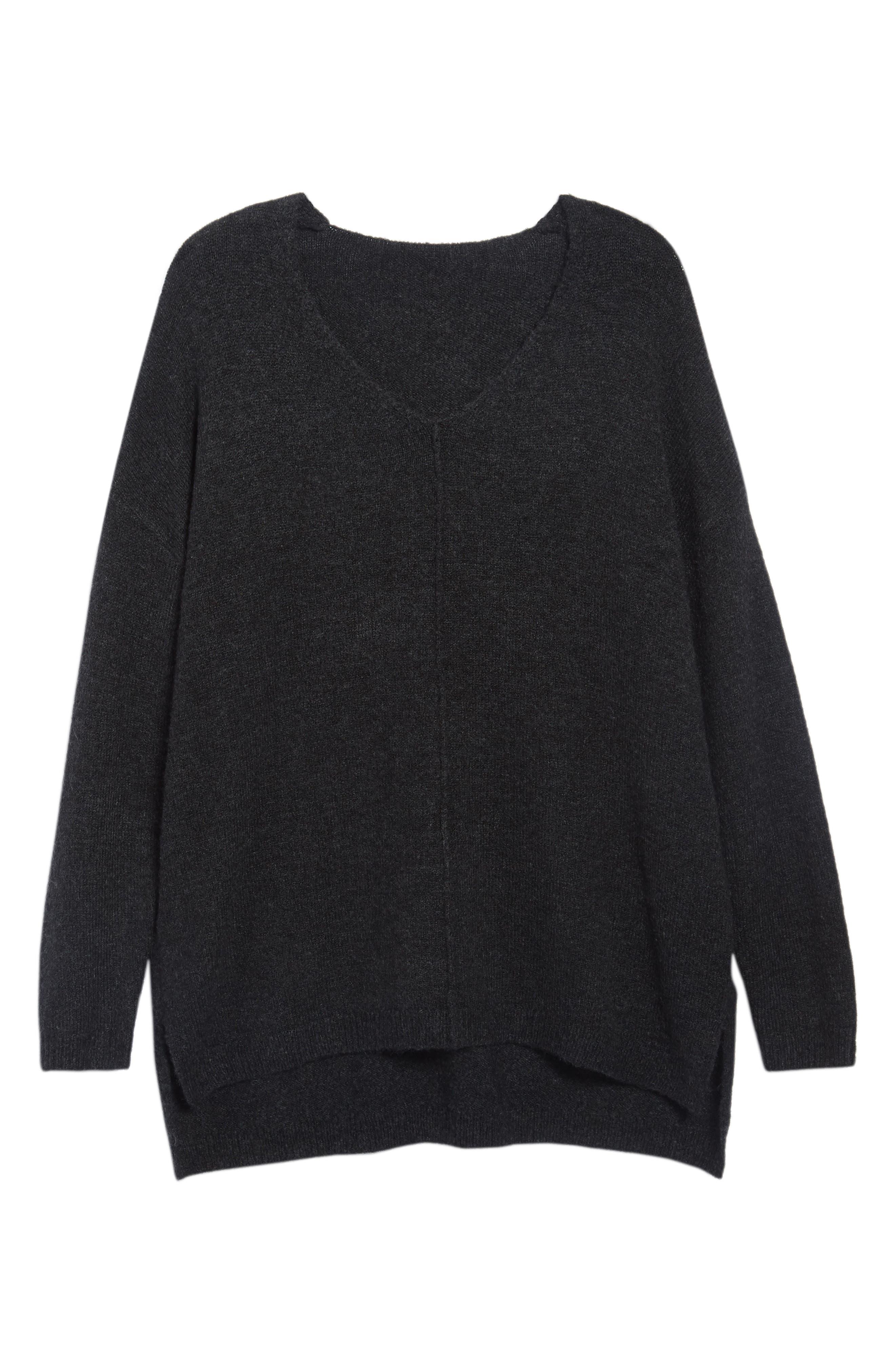 Exposed Seam Tunic Sweater,                             Alternate thumbnail 6, color,                             001