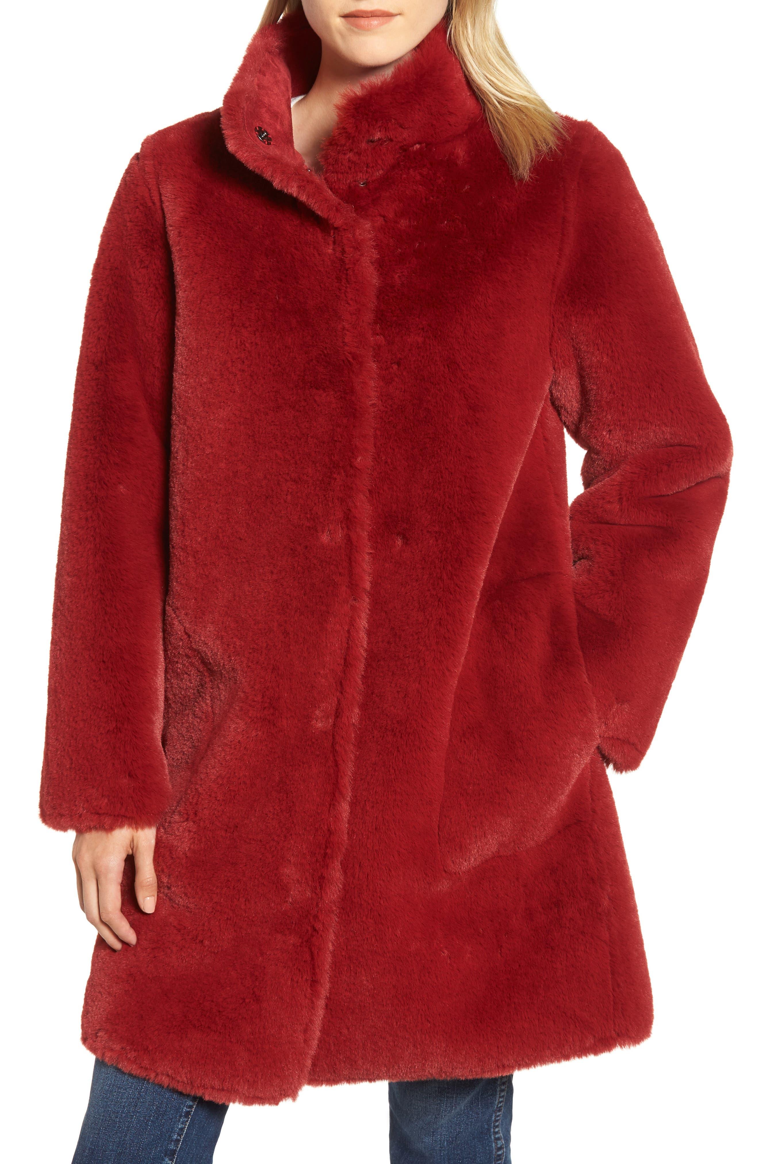 Faux Fur Reversible Coat,                             Alternate thumbnail 6, color,                             RED