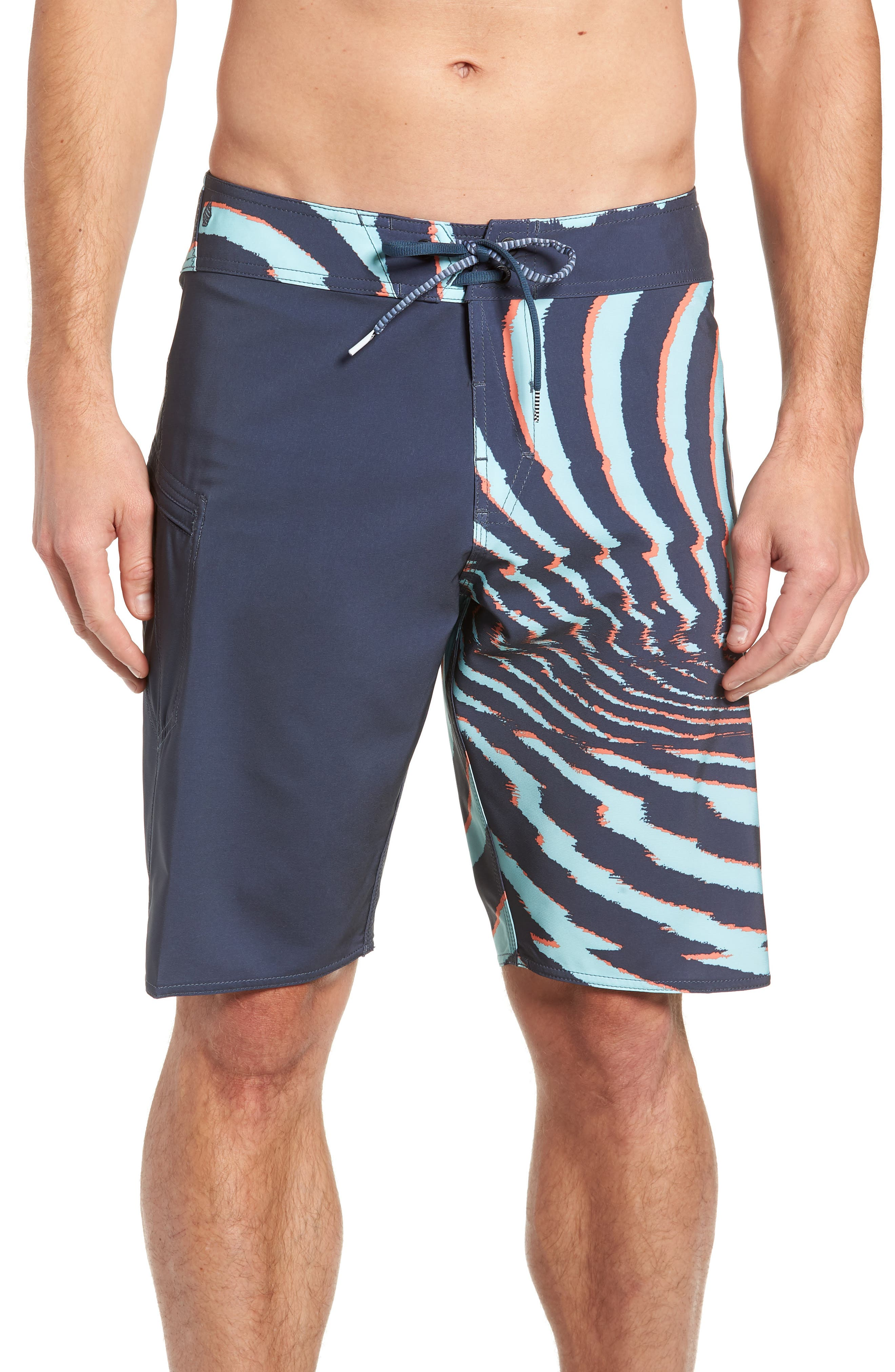 Lido Block Mod Board Shorts,                             Main thumbnail 1, color,                             MEDIUM BLUE