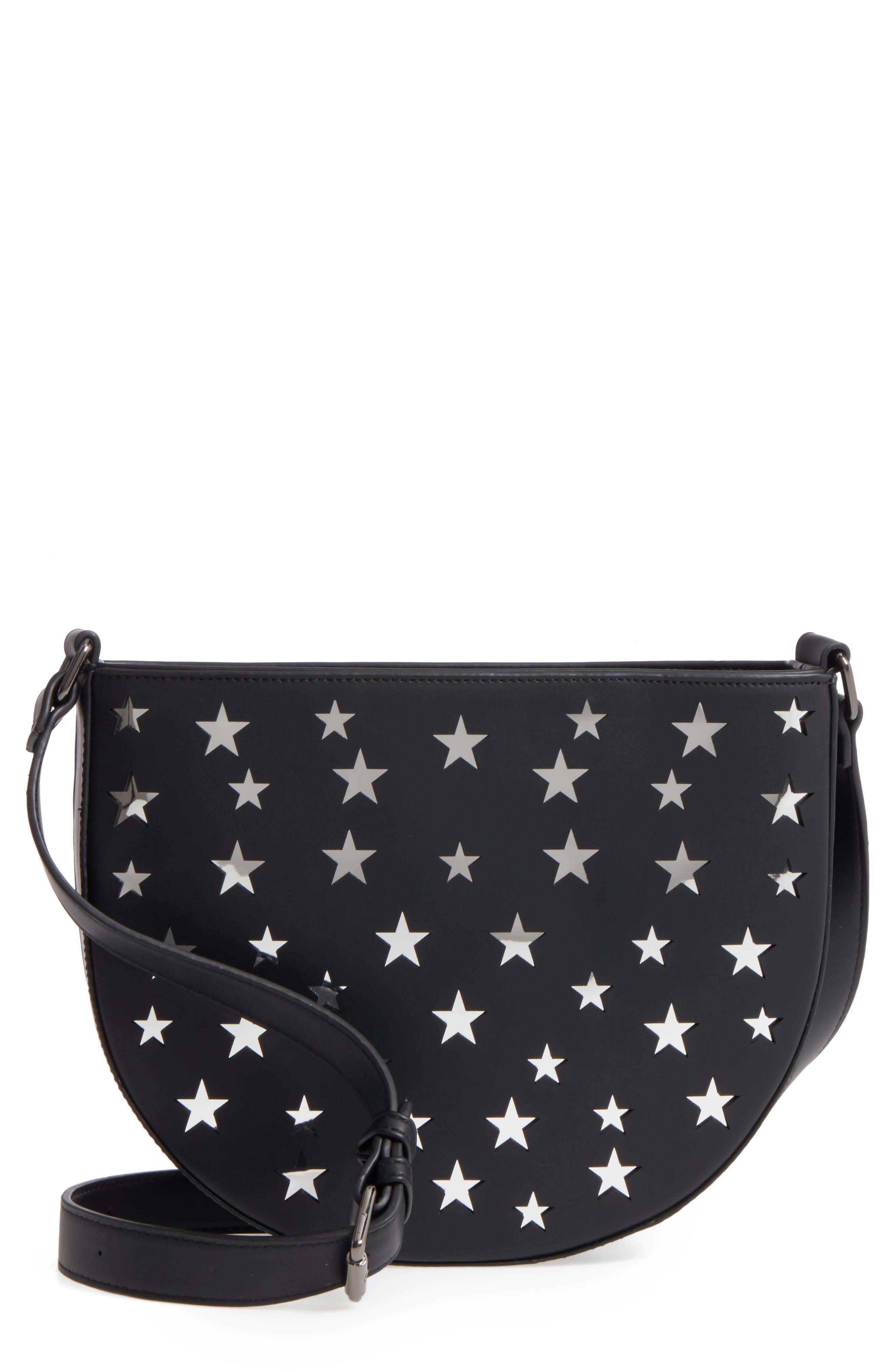 Half Moon Faux Leather Crossbody Bag,                         Main,                         color, 001