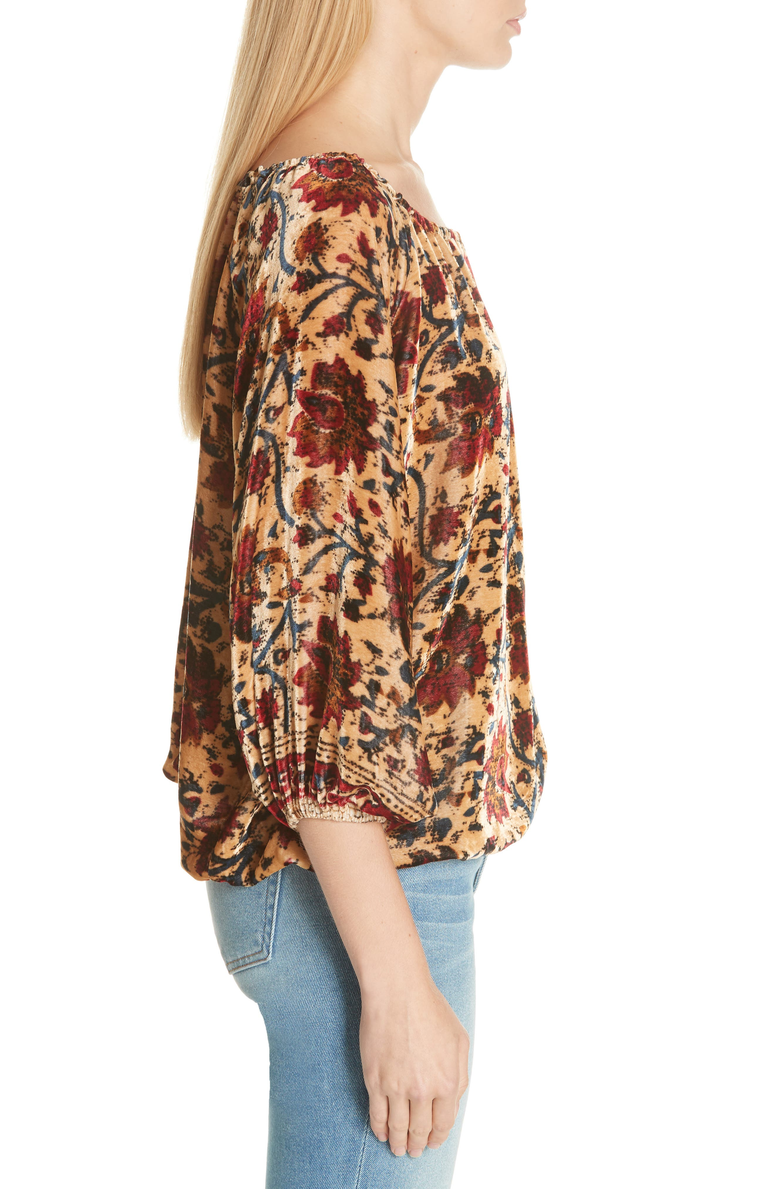 Cherie Velvet Blouse,                             Alternate thumbnail 3, color,                             FLORAL MULTI