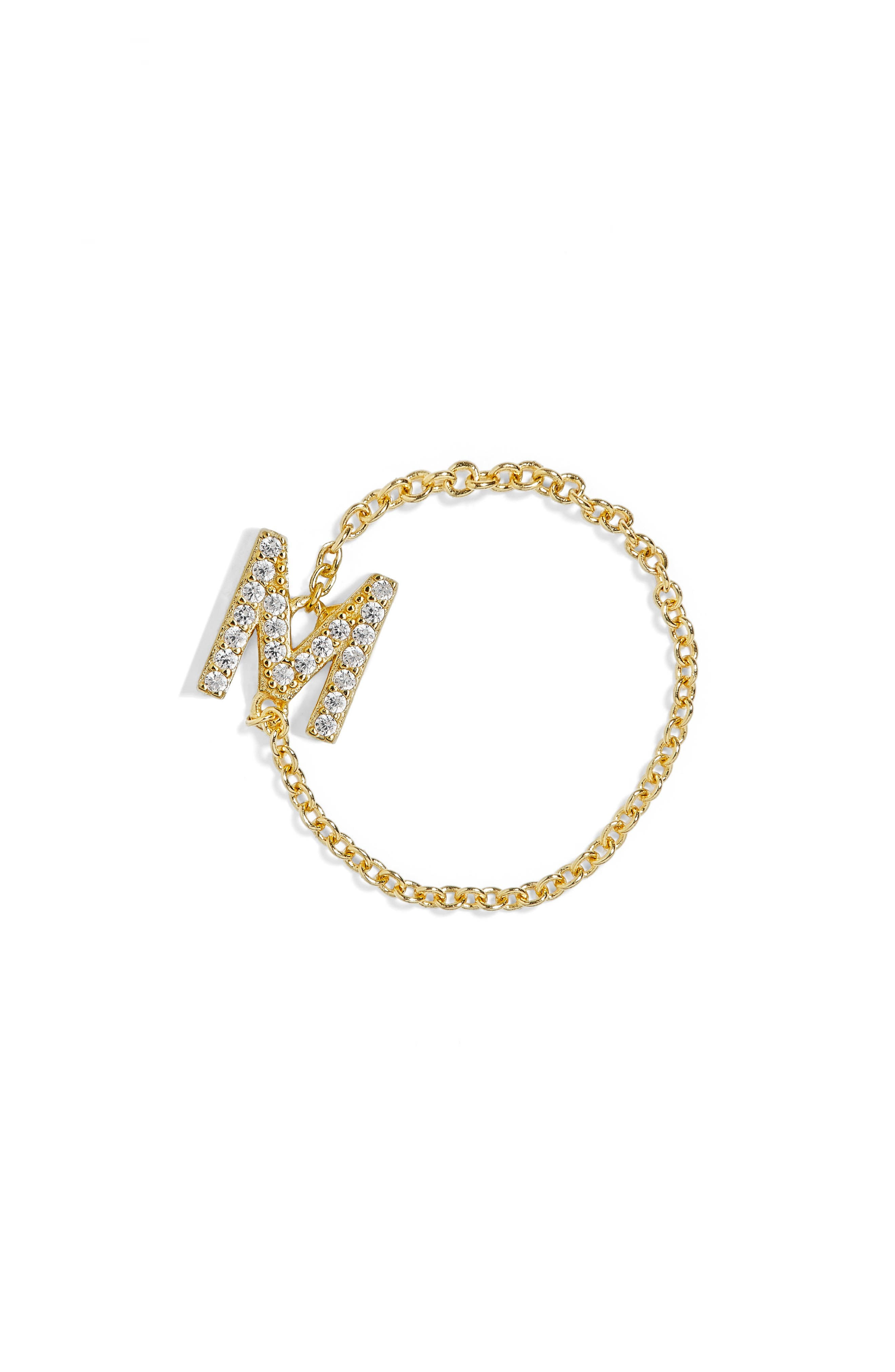 Nome Everyday Fine Crystal Initial Chain Ring,                             Main thumbnail 3, color,