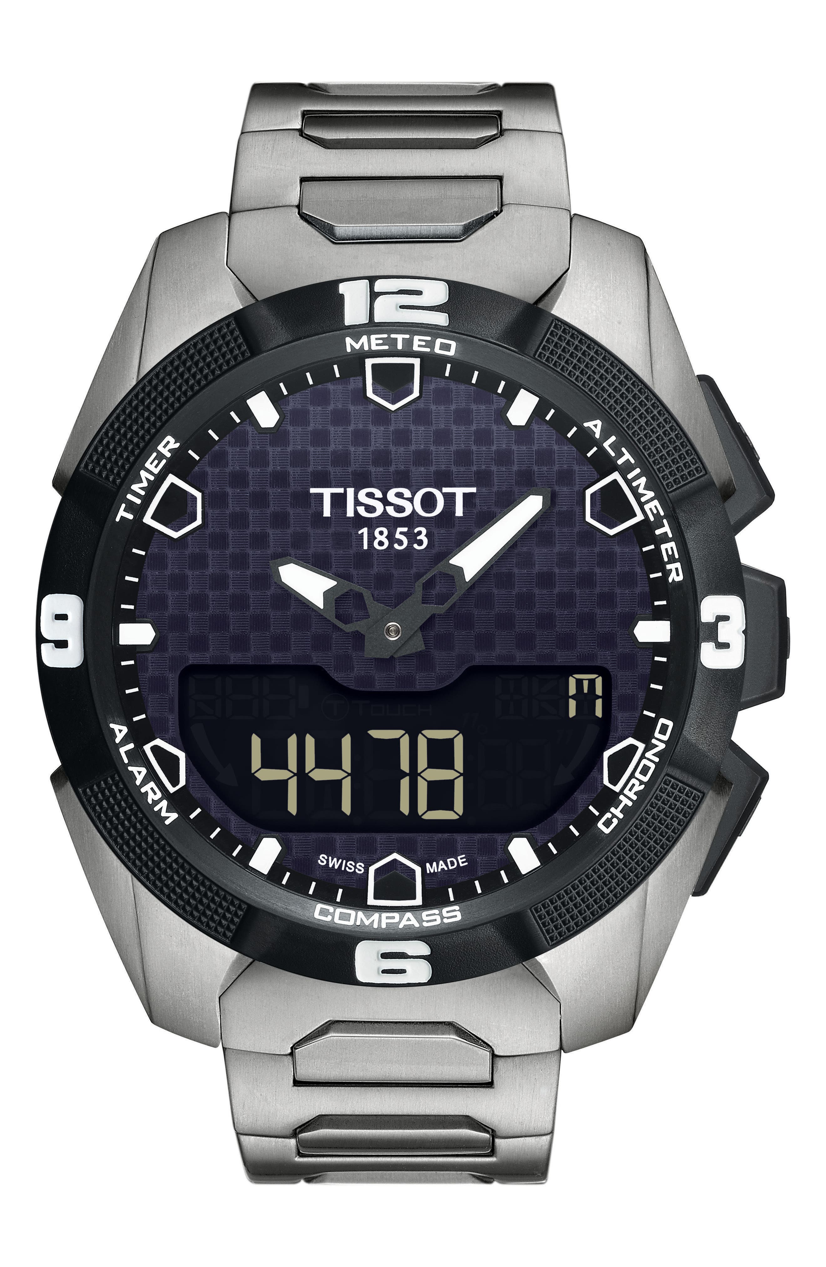 T-Touch ExperSolar Expert Smartwatch, 45mm,                             Main thumbnail 1, color,                             SILVER/ BLACK/ SILVER