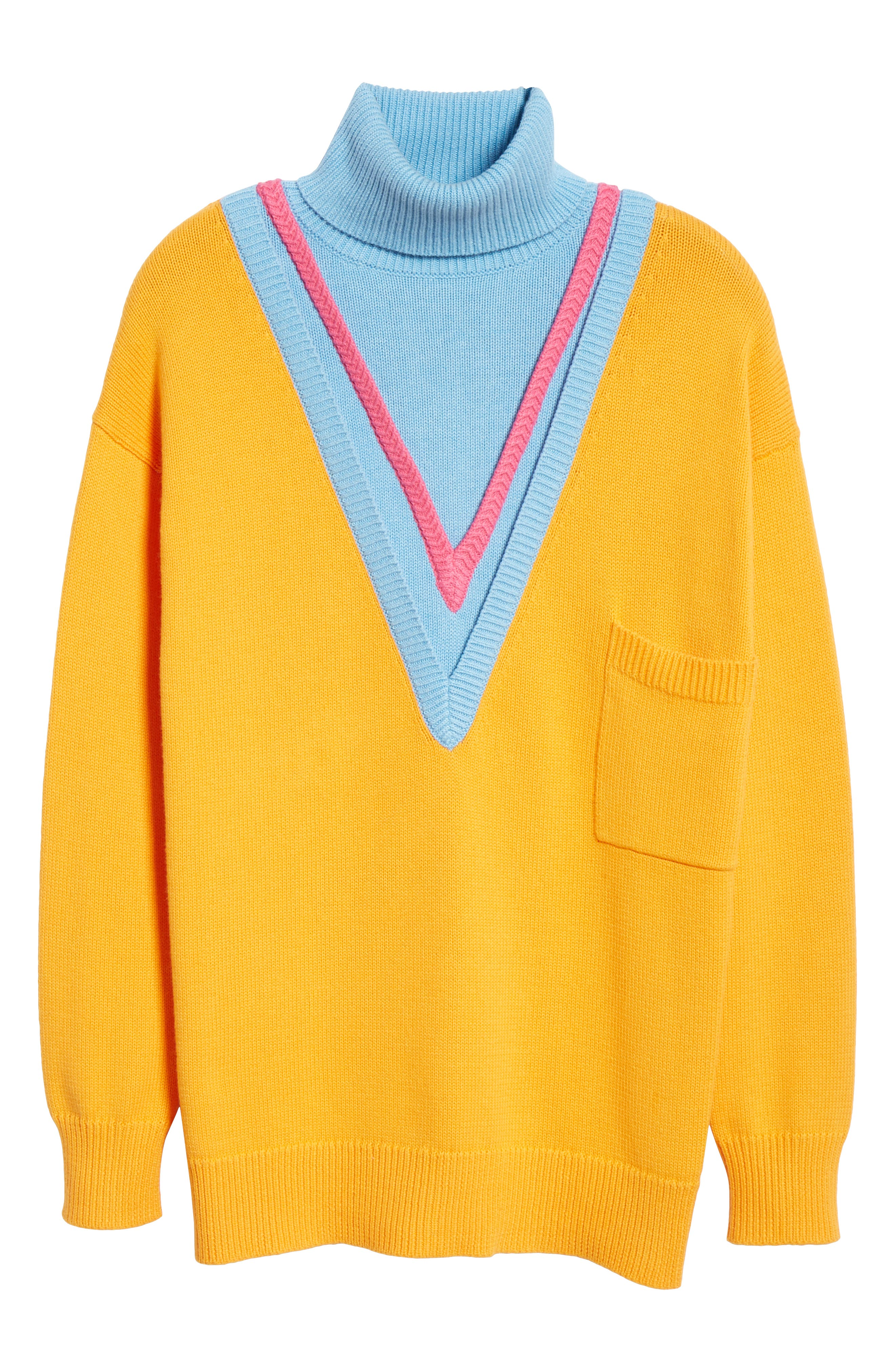 VICTOR GLEMAUD,                             Layered Cotton & Cashmere Turtleneck Sweater,                             Alternate thumbnail 6, color,                             ORANGE COMBO