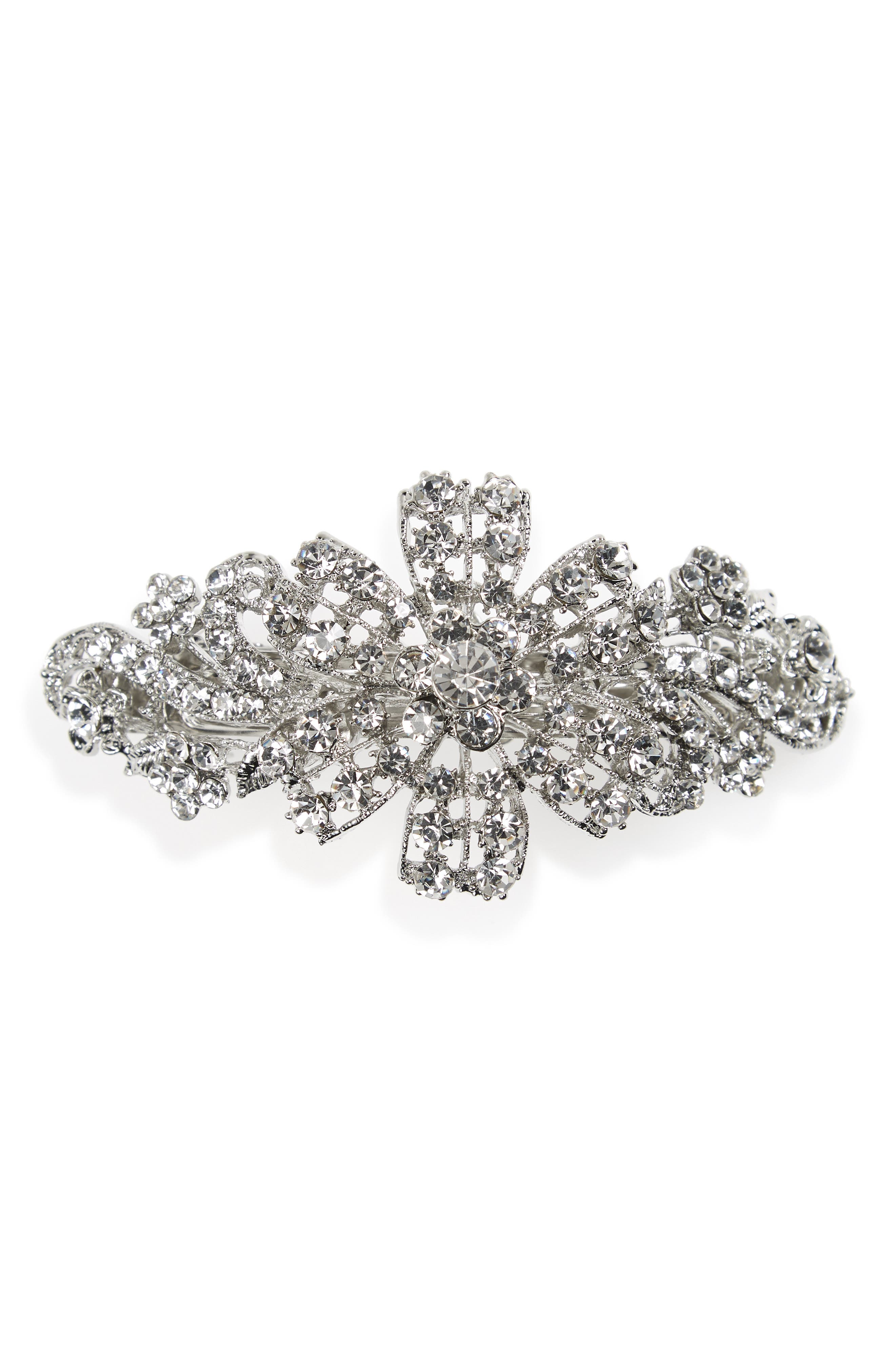1920s Accessories | Great Gatsby Accessories Guide Tasha Floral Crystal Barrette $19.20 AT vintagedancer.com